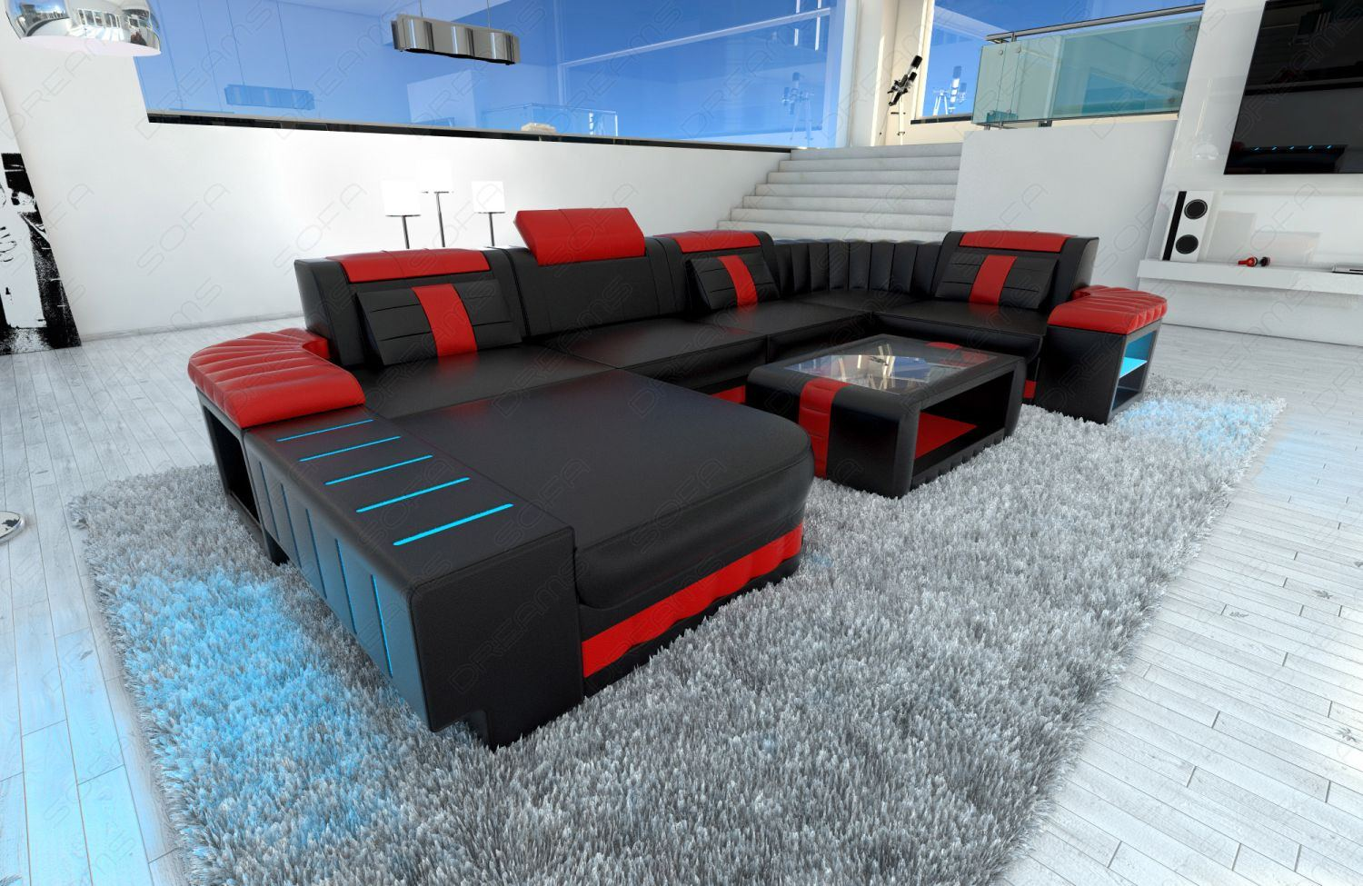 wohnlandschaft bellagio u form leder schwarz rot mit led glasablage ebay. Black Bedroom Furniture Sets. Home Design Ideas