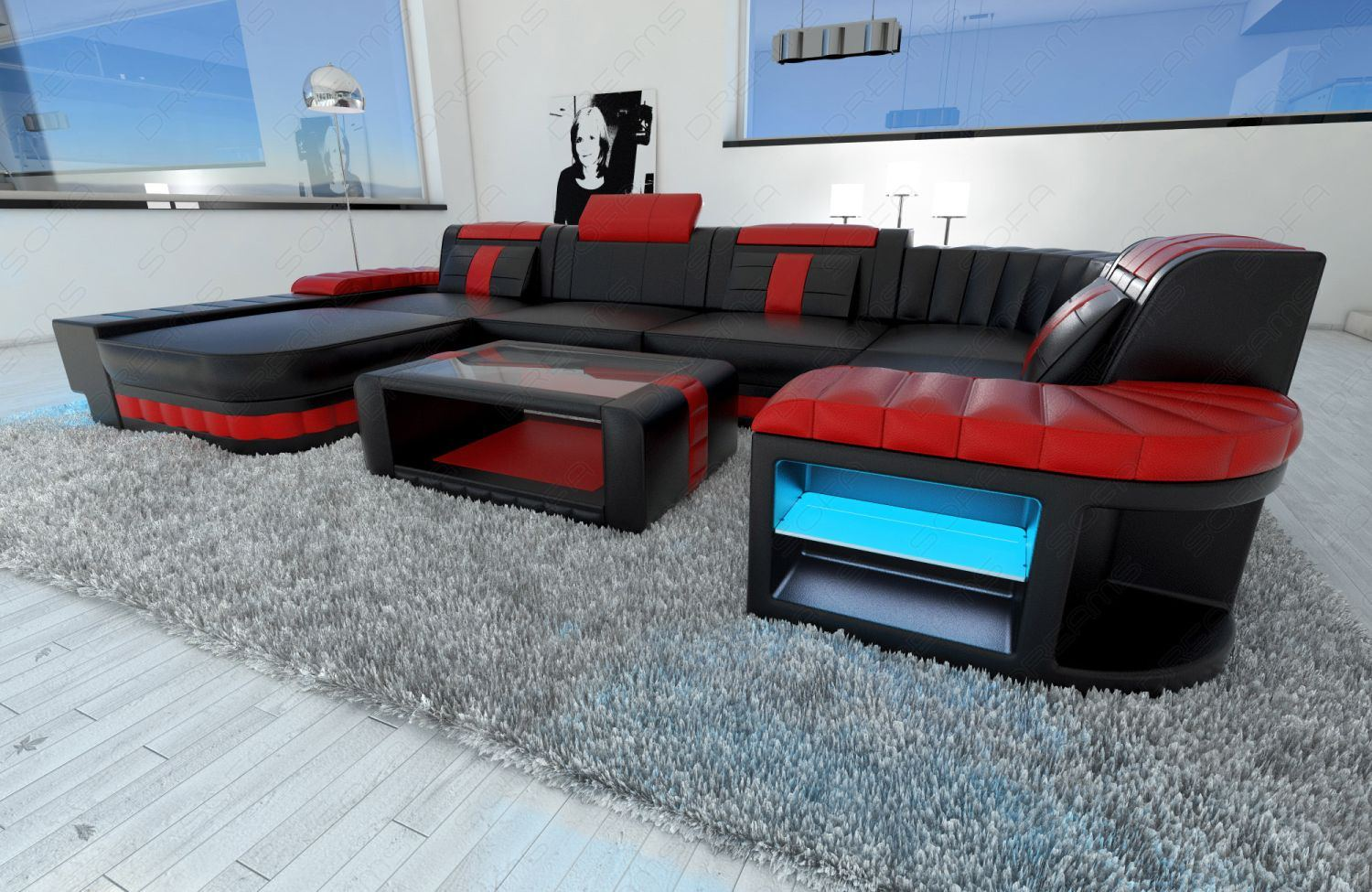 wohnlandschaft bellagio u form leder schwarz rot mit led. Black Bedroom Furniture Sets. Home Design Ideas