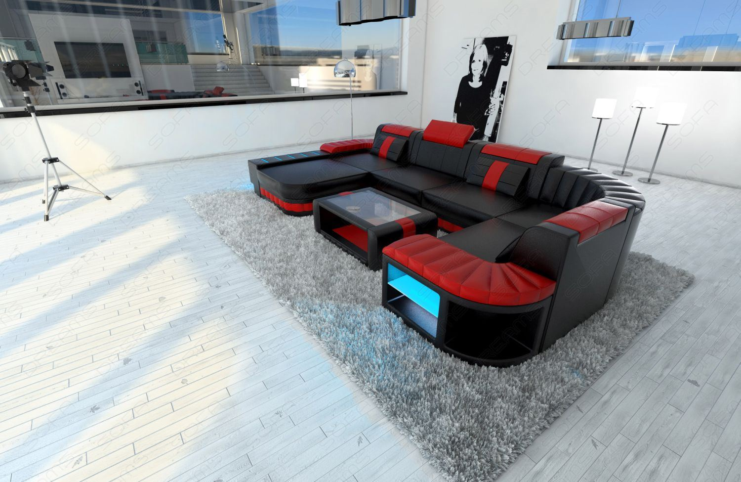 sofa interior design bellagio u shaped design sofa with led. Black Bedroom Furniture Sets. Home Design Ideas