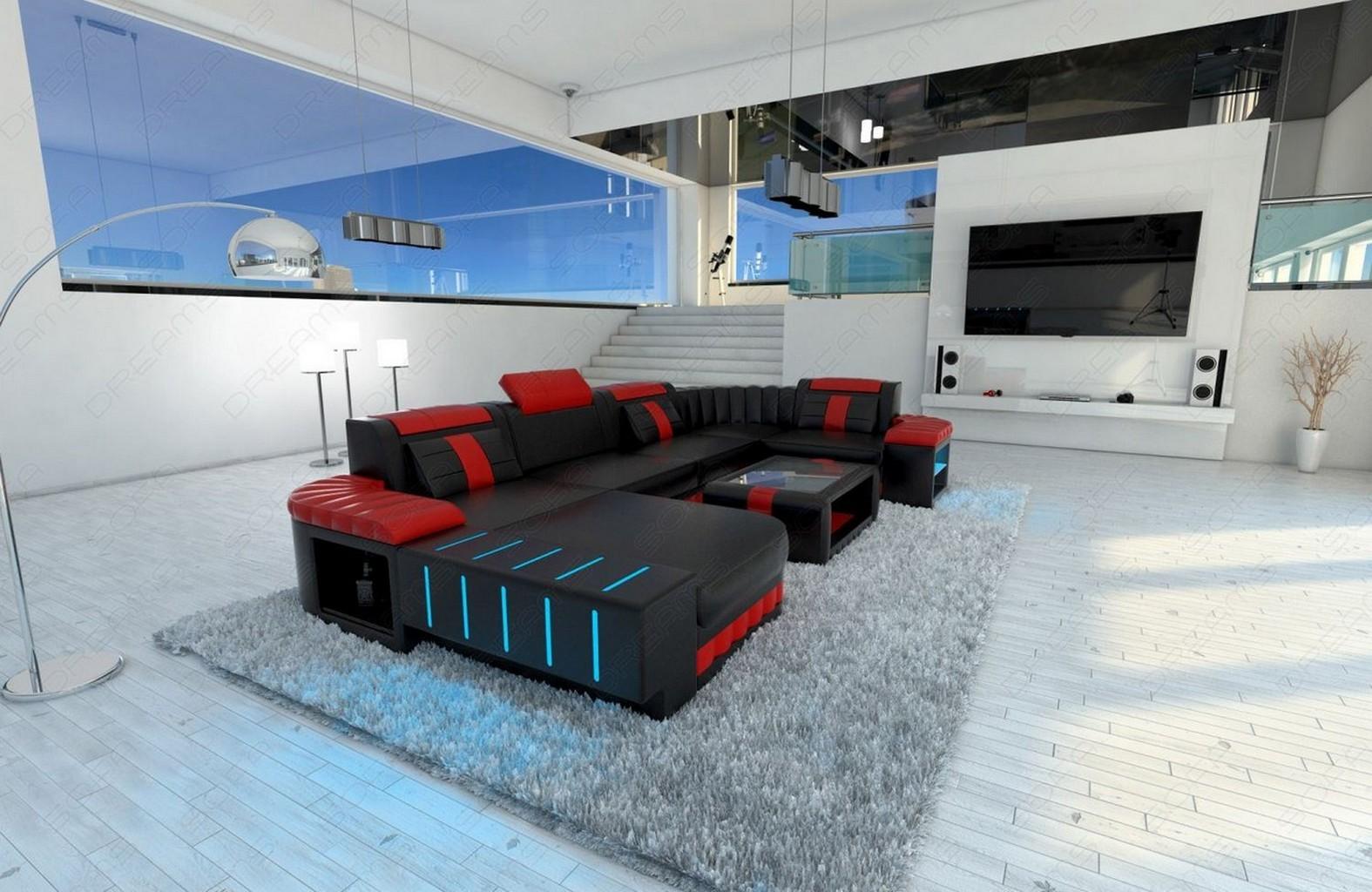 Wohnlandschaft Bellagio U Form Designsofa Leder Schwarz Rot Mit Led