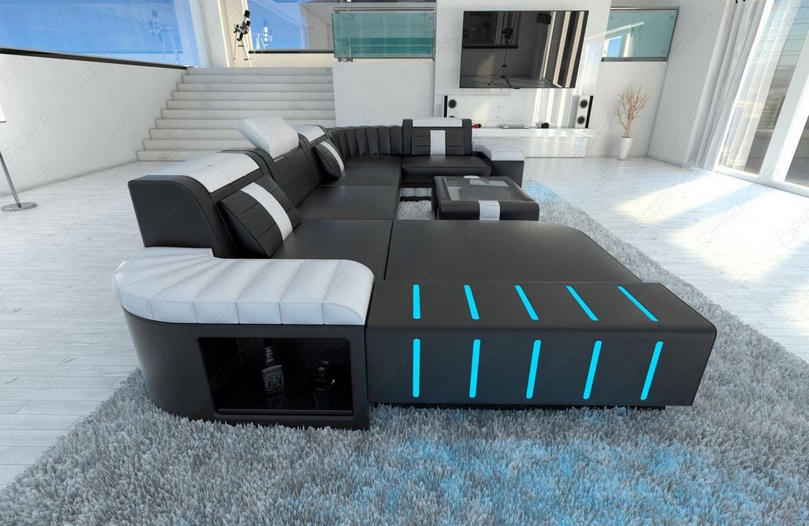 designsofa ledercouch sofa wohnlandschaft bellagio led beleuchtung schwarz weiss ebay. Black Bedroom Furniture Sets. Home Design Ideas