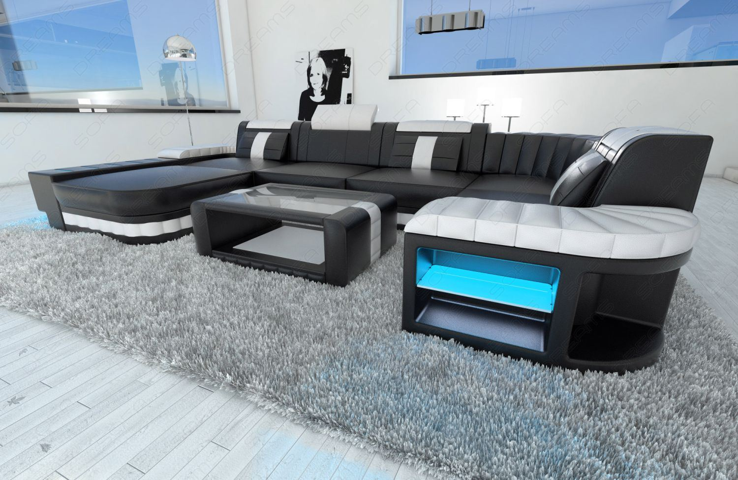design sectional sofa bellagio led u shape black white ebay. Black Bedroom Furniture Sets. Home Design Ideas