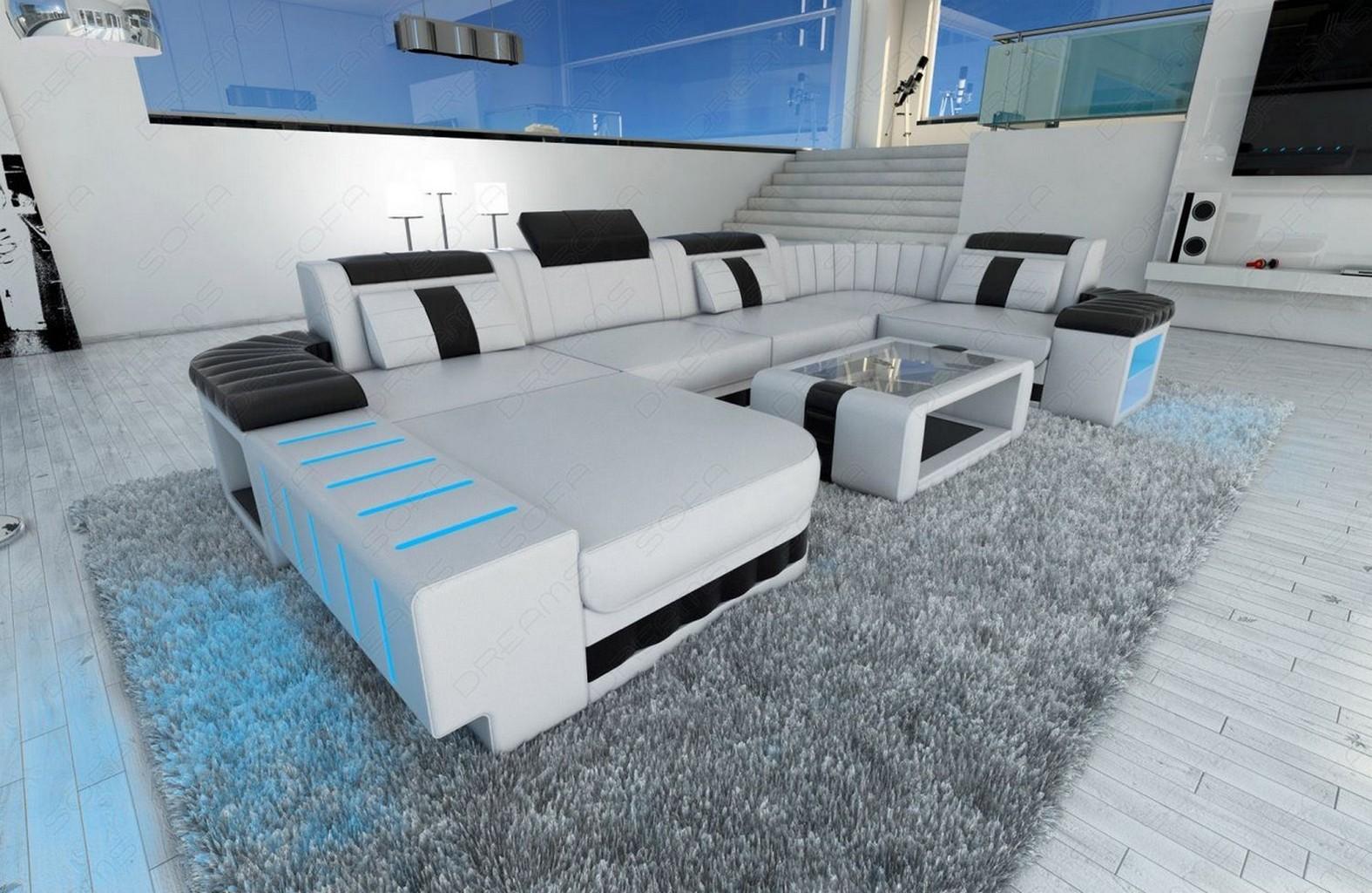 ledersofa couch bellagio u form mit ottomane und led beleuchtung weiss schwarz ebay. Black Bedroom Furniture Sets. Home Design Ideas