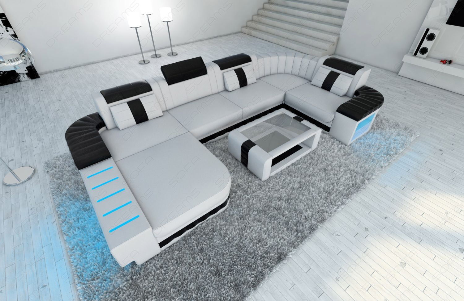 Led Raumbeleuchtung Design : Design sectional sofa bellagio led u shape white black ebay