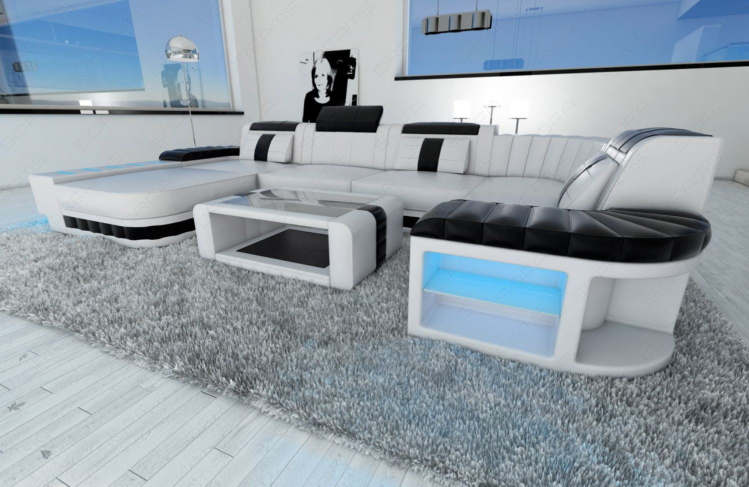 design sectional sofa bellagio led u shape white black ebay. Black Bedroom Furniture Sets. Home Design Ideas