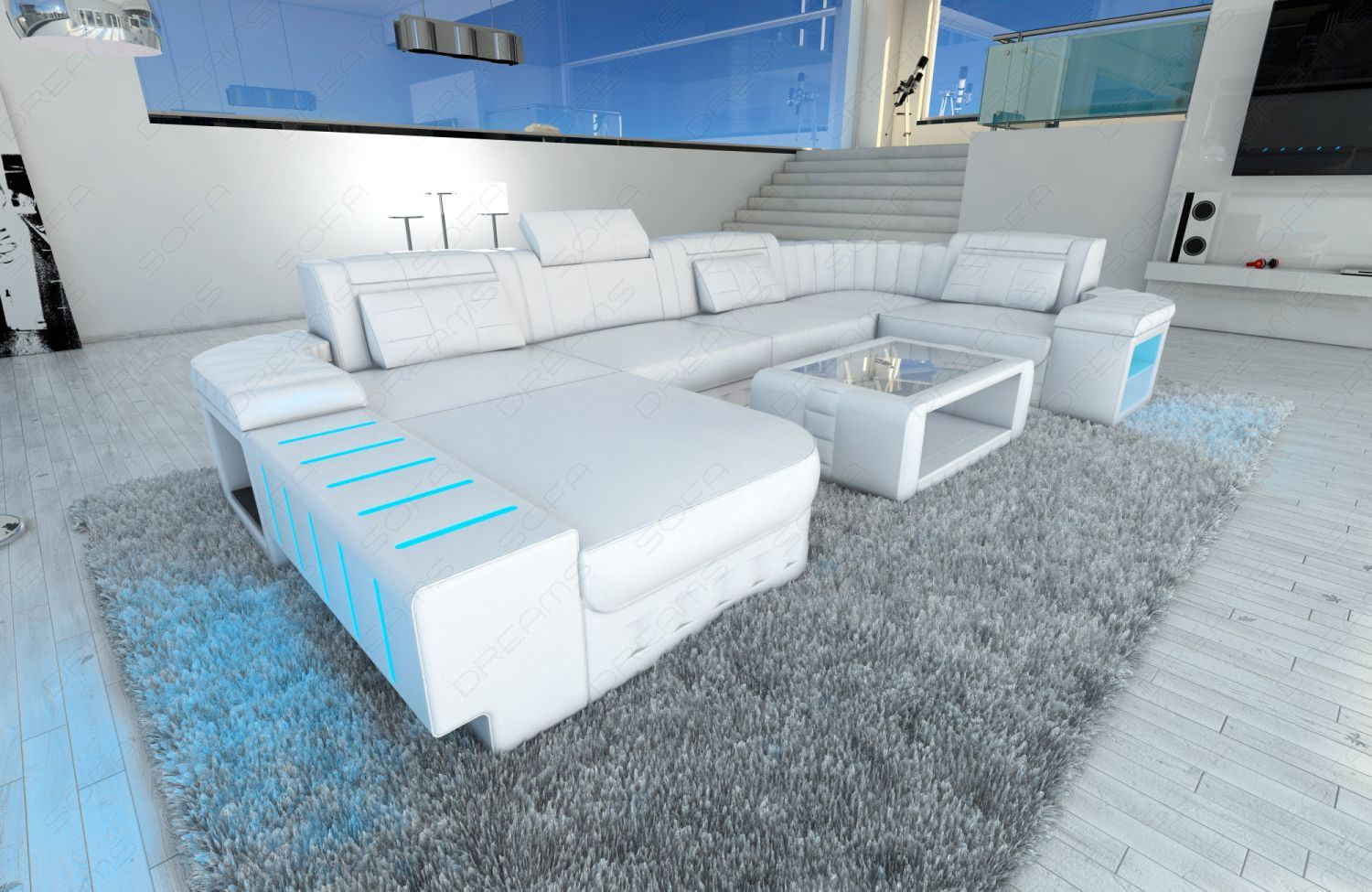 sofagarnitur bellagio u form xl couch komplett weiss moderne wohnlandschaft ebay. Black Bedroom Furniture Sets. Home Design Ideas