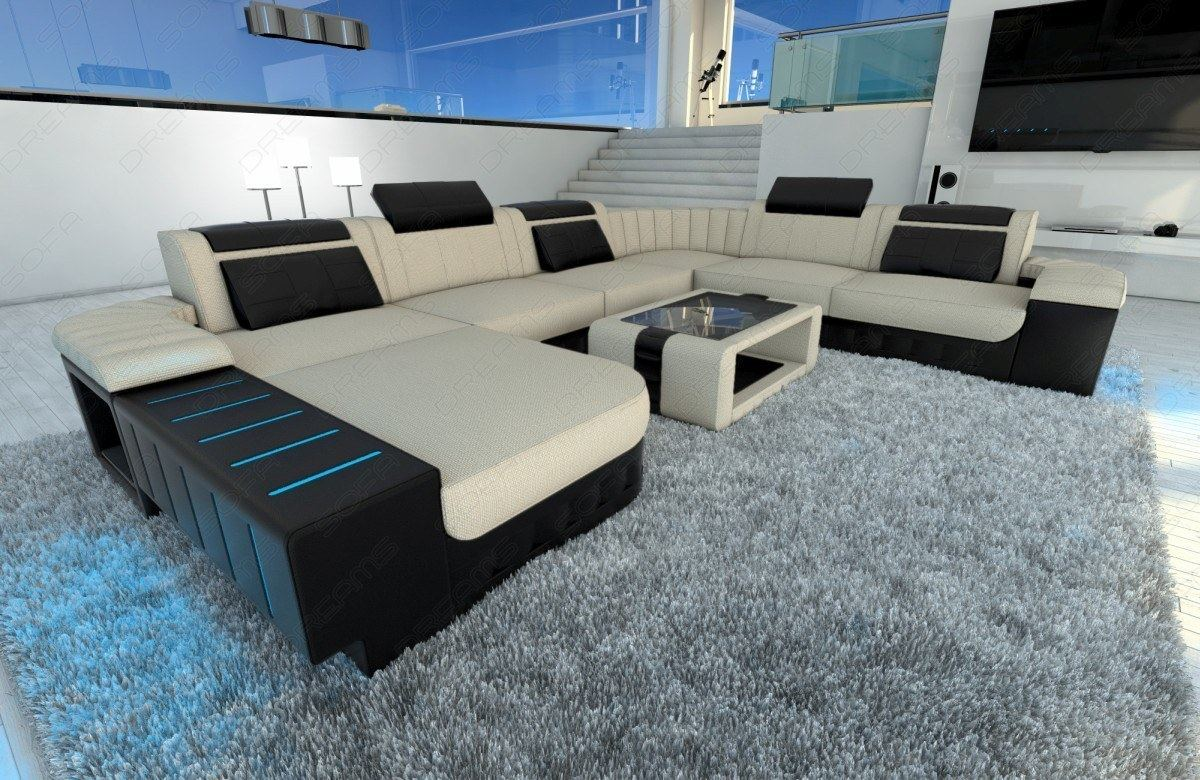 fabric sectional sofa bellagio xxl design couch with led lighting colour select. Black Bedroom Furniture Sets. Home Design Ideas