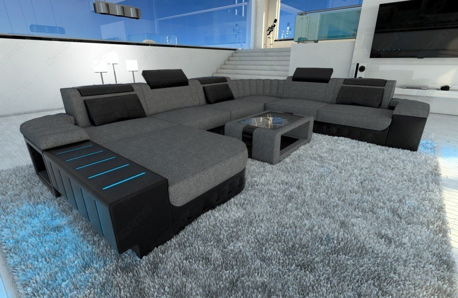 wohnlandschaft polstersofa strukturstoff grau bellagio xxl led beleuchtung rgb ebay. Black Bedroom Furniture Sets. Home Design Ideas