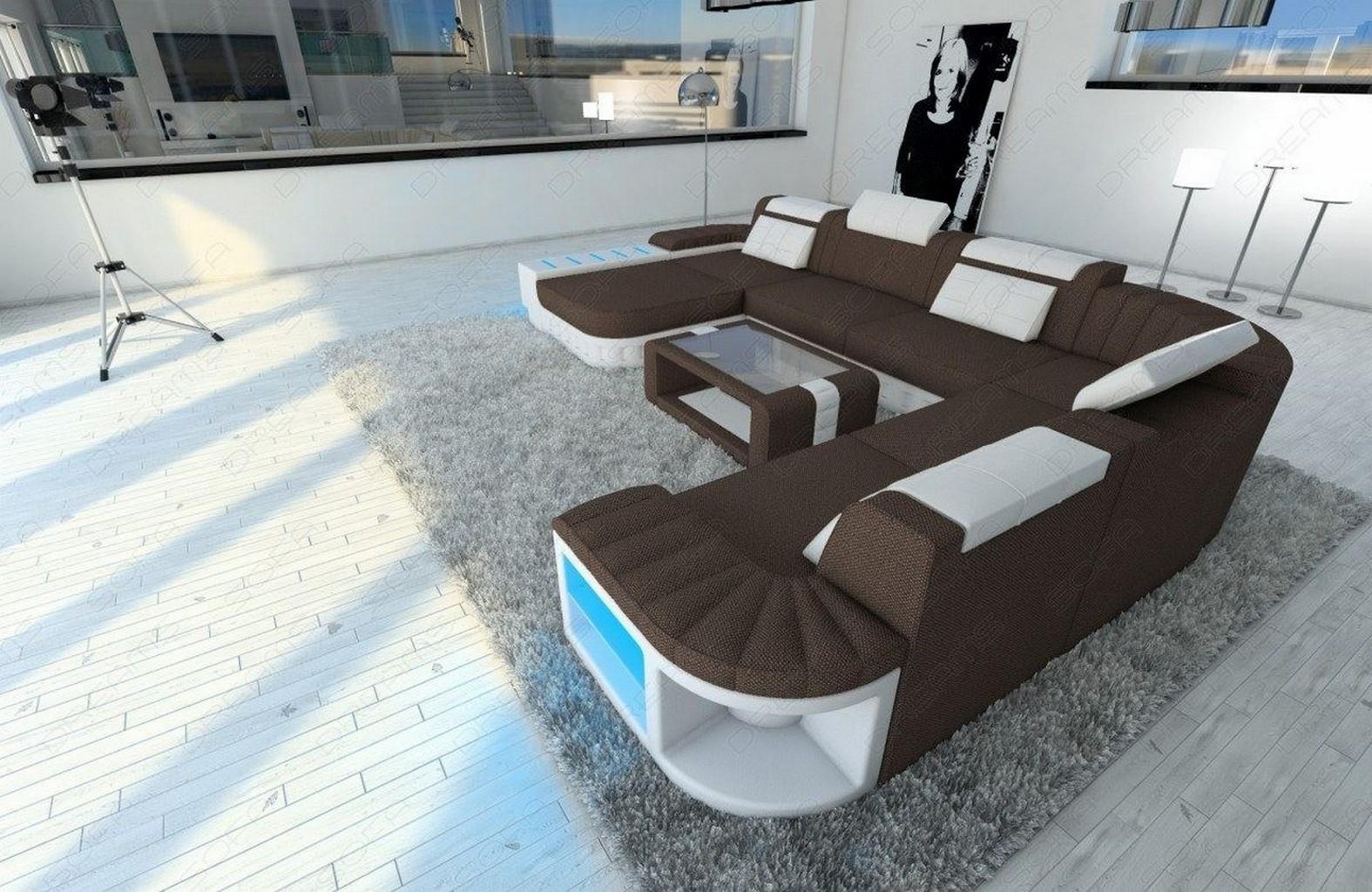 big sectional sofa half leather half fabric bellagio xxl. Black Bedroom Furniture Sets. Home Design Ideas