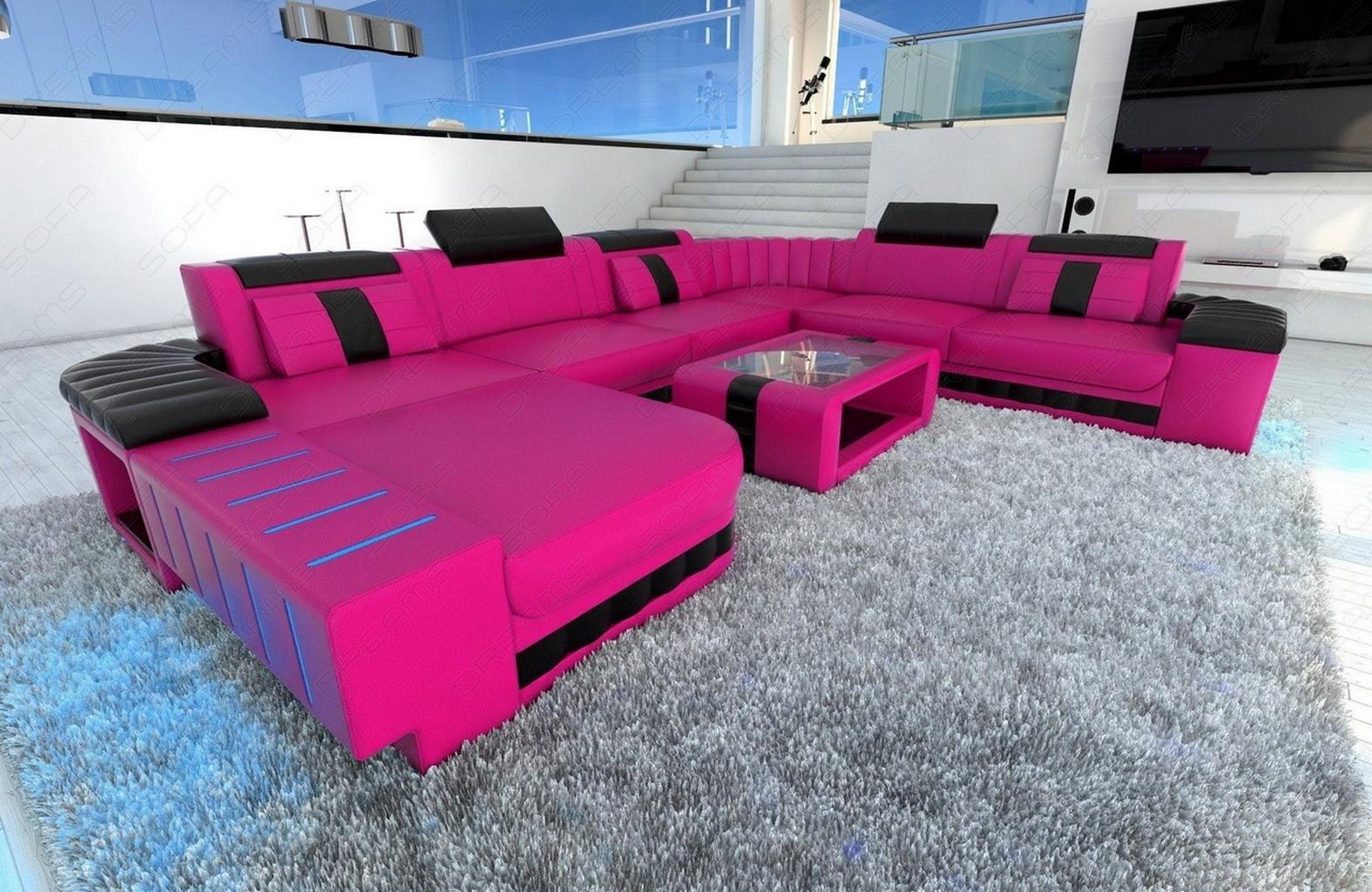 xxl sectional sofa bellagio led u shaped pink black ebay. Black Bedroom Furniture Sets. Home Design Ideas