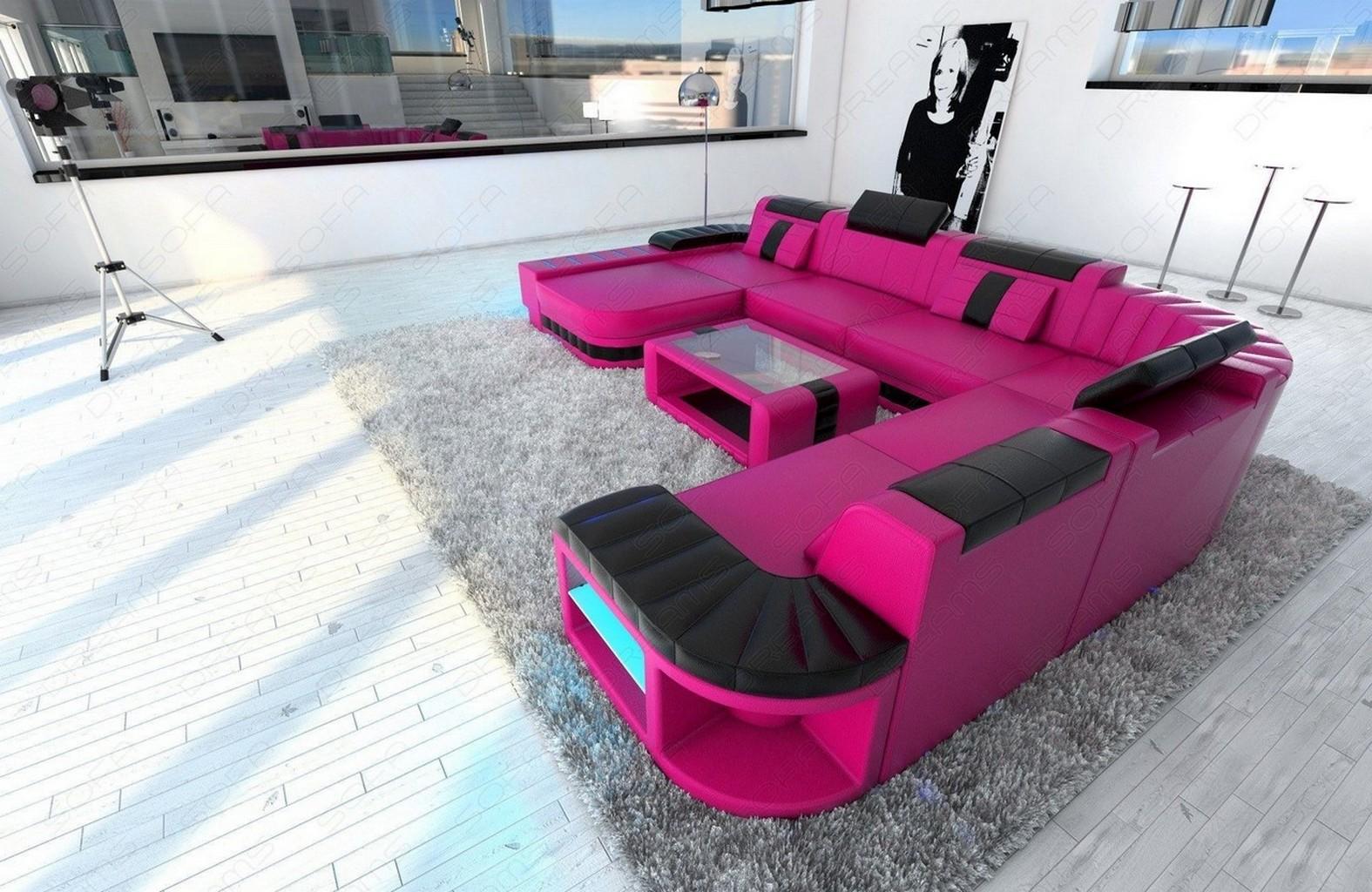 Polsterm bel leder f rben for Black and pink furniture