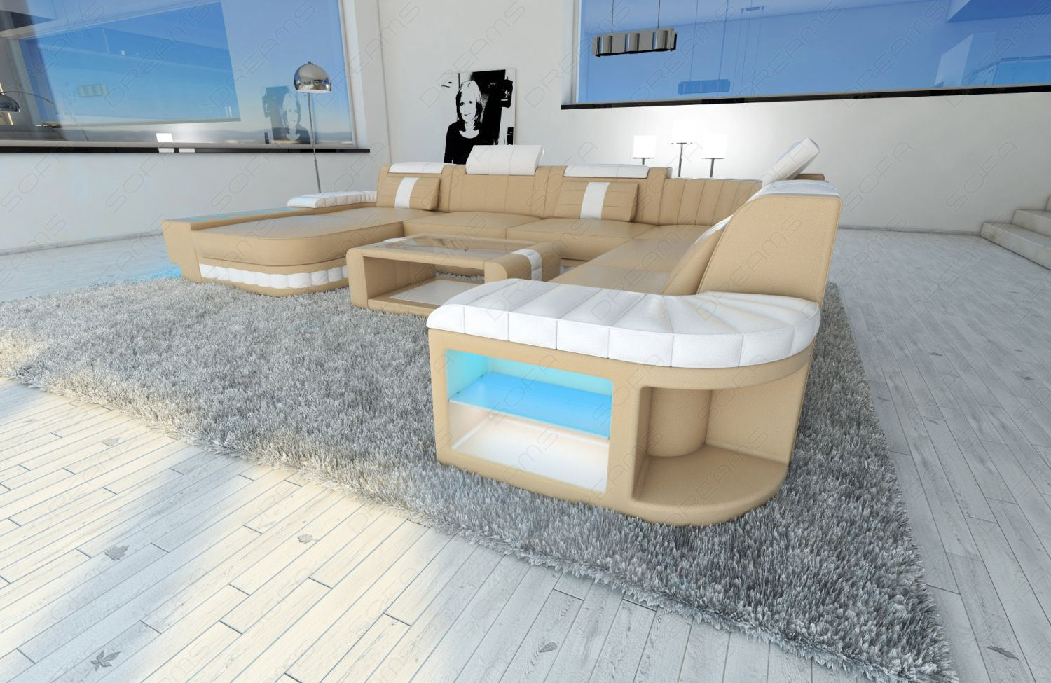 xxl leather sectional sofa bellagio with led lighting. Black Bedroom Furniture Sets. Home Design Ideas