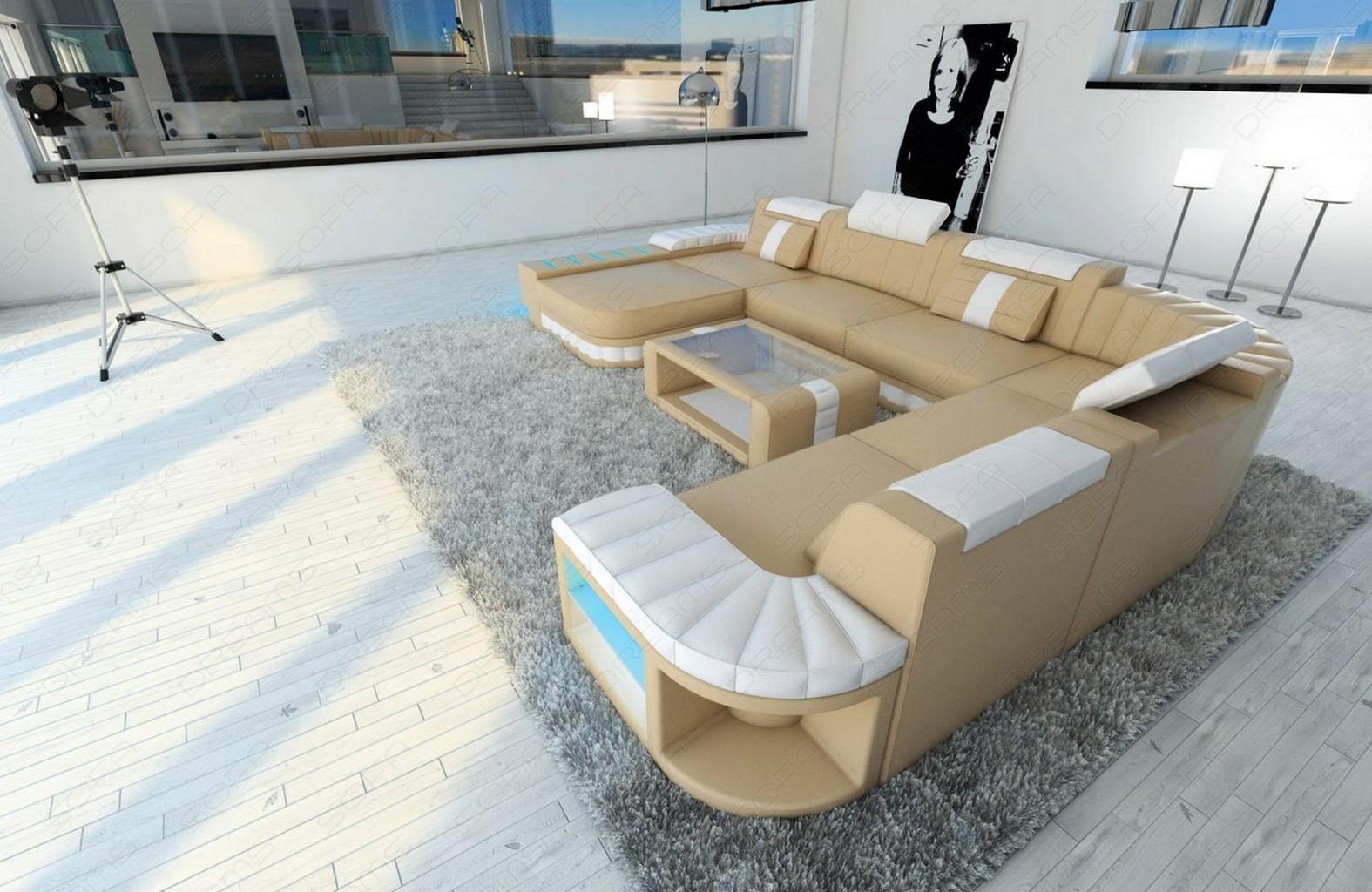 Ledercouch wohnlandschaft xxl ecksofa bellagio luxus sofa for Luxus wohnlandschaft leder