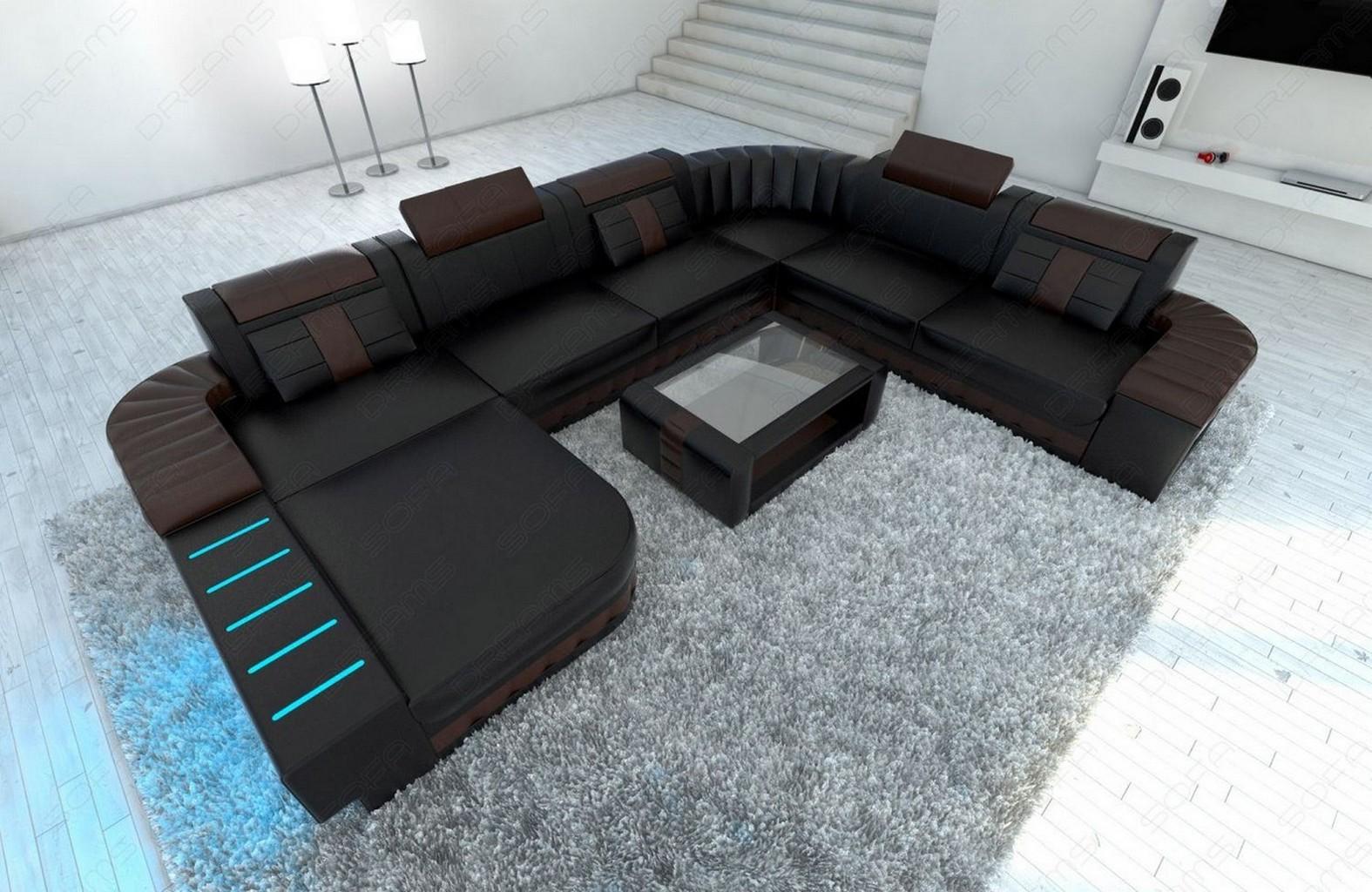 xxl sectional sofa bellagio led u shaped black darkbrown. Black Bedroom Furniture Sets. Home Design Ideas