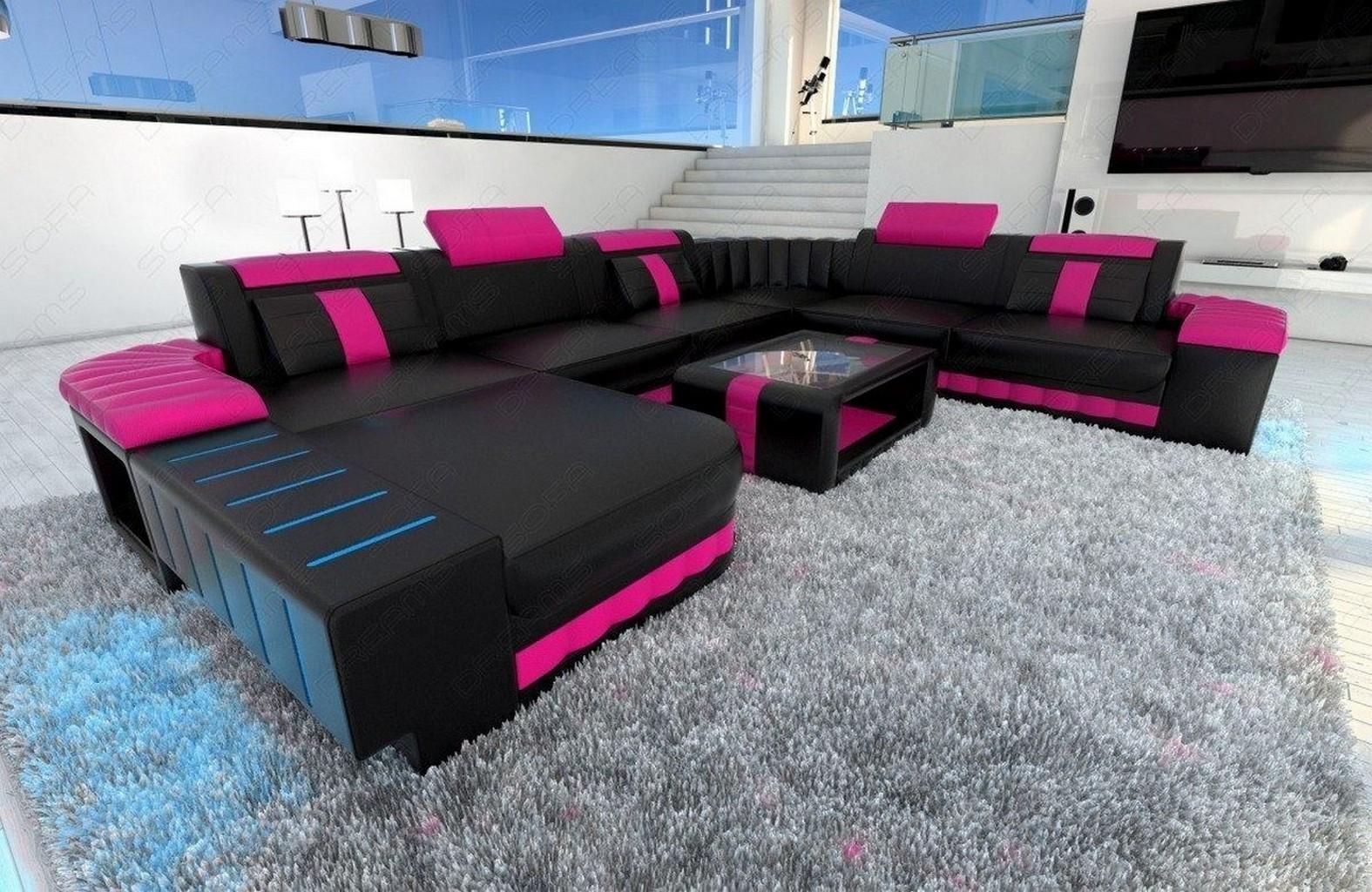 Xxl Sofa Wohnlandschaft Bellagio Led Couch Garnitur Designersofa Schwarz Pink Ebay