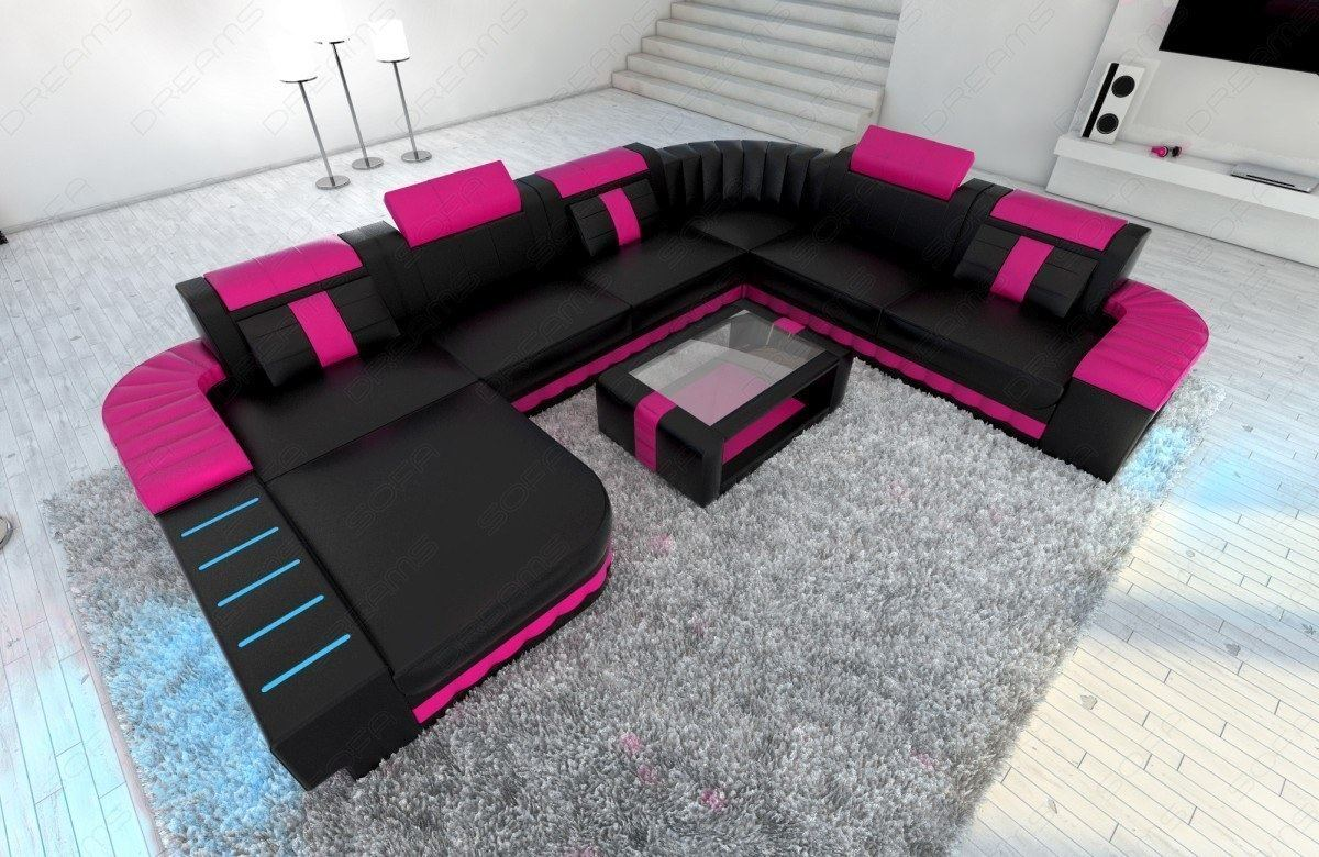 xxl sofa wohnlandschaft bellagio led couch garnitur designersofa schwarz pink ebay. Black Bedroom Furniture Sets. Home Design Ideas
