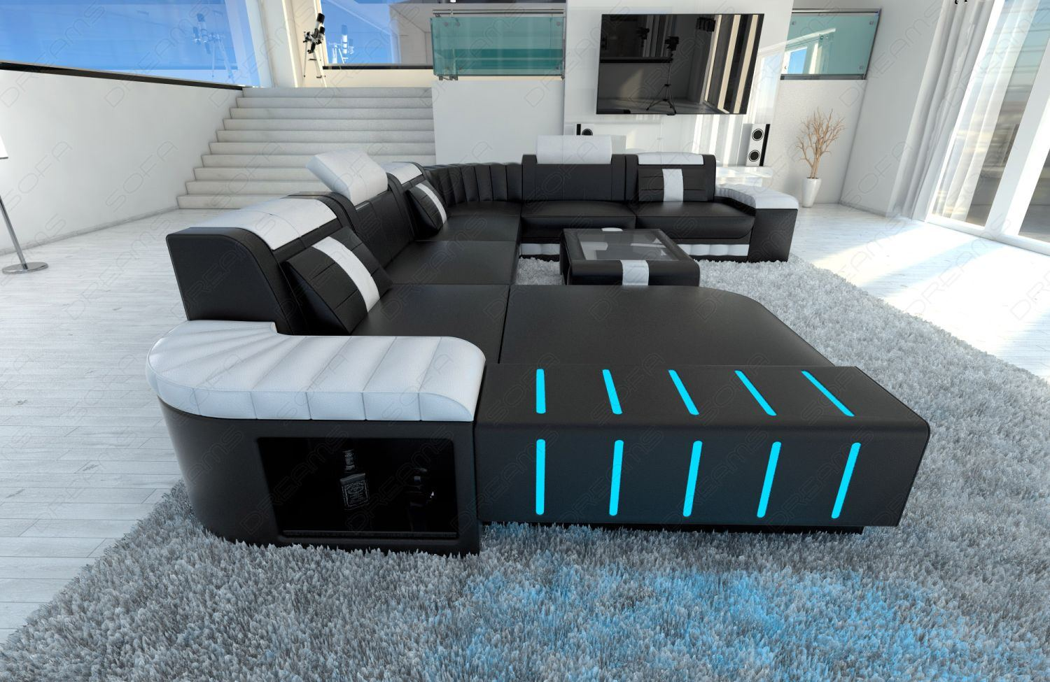 sofa bellagio xxl leather sofa led lighting colour selection usb port couch ebay. Black Bedroom Furniture Sets. Home Design Ideas