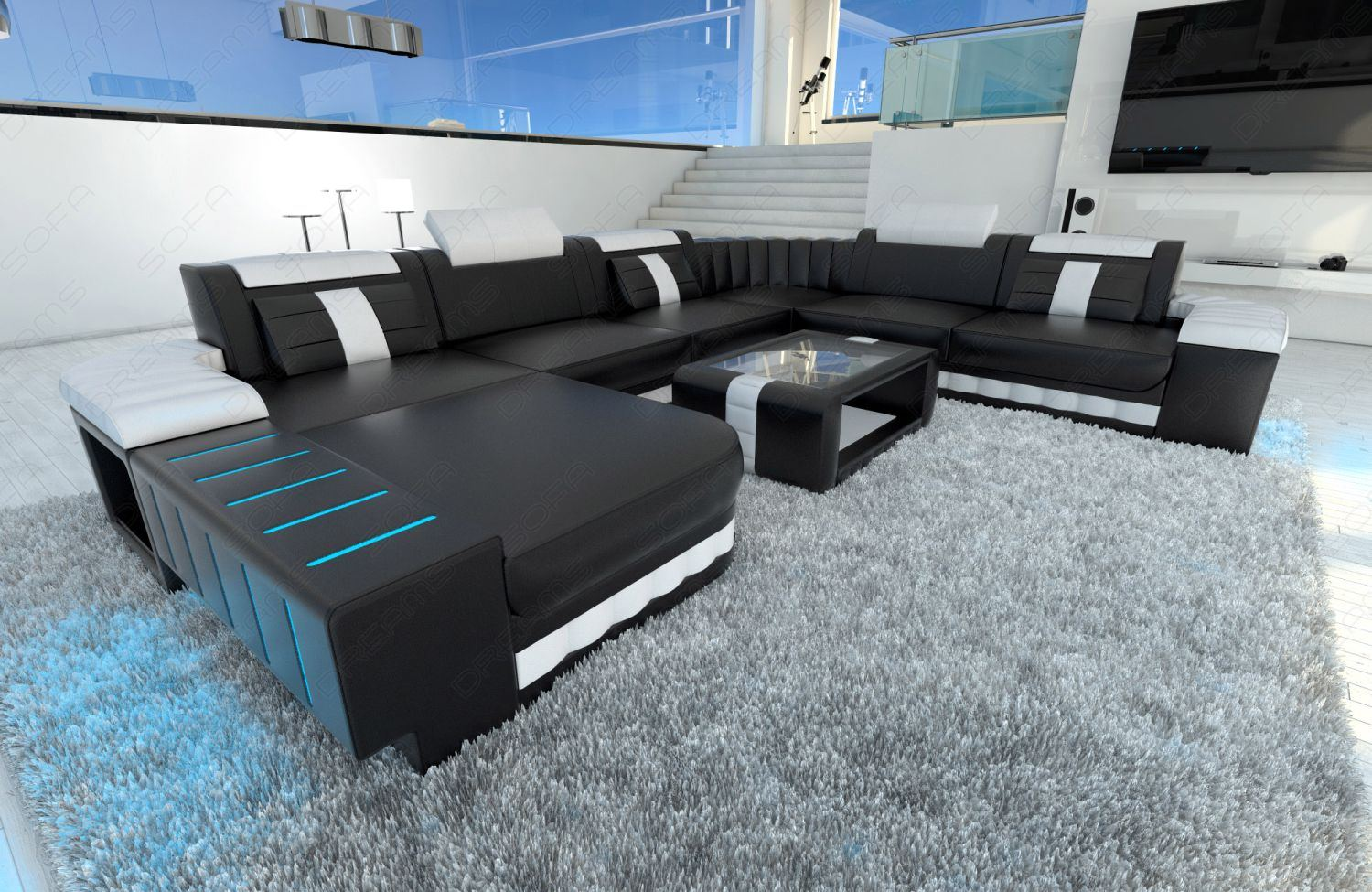 xxl sectional sofa bellagio led u shaped black white ebay. Black Bedroom Furniture Sets. Home Design Ideas