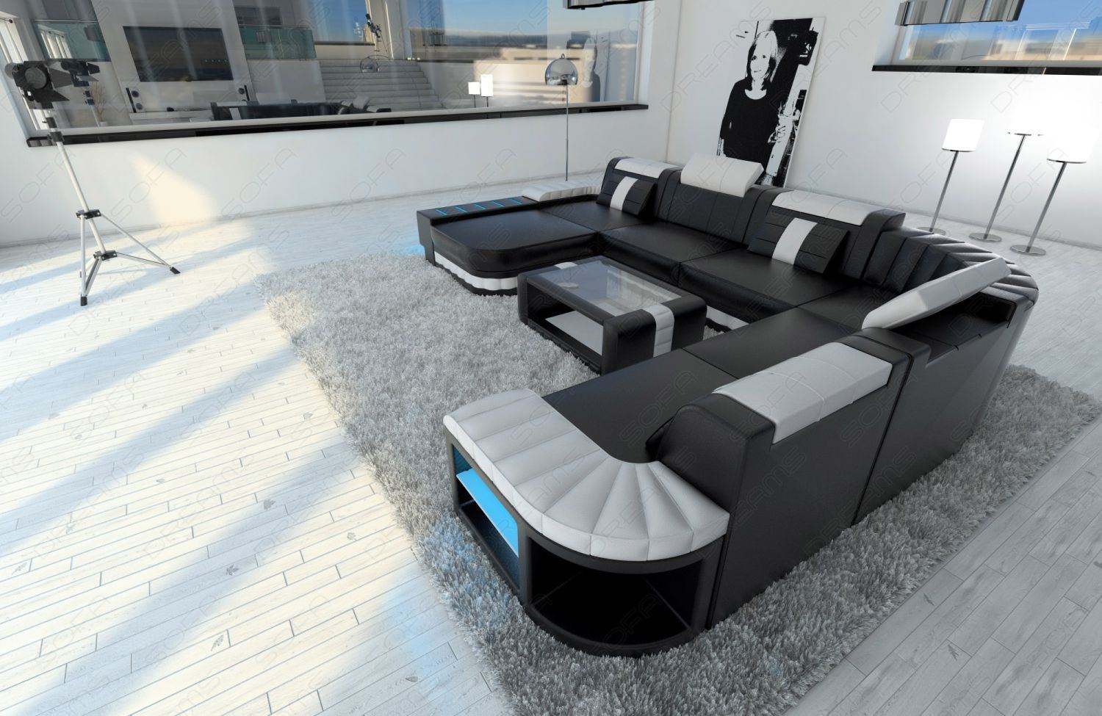 Fantastic Detalles Acerca De Sofa Seccional Xxl Bellagio Led Blanco Negro En Forma De U Mostrar Titulo Original Beutiful Home Inspiration Aditmahrainfo