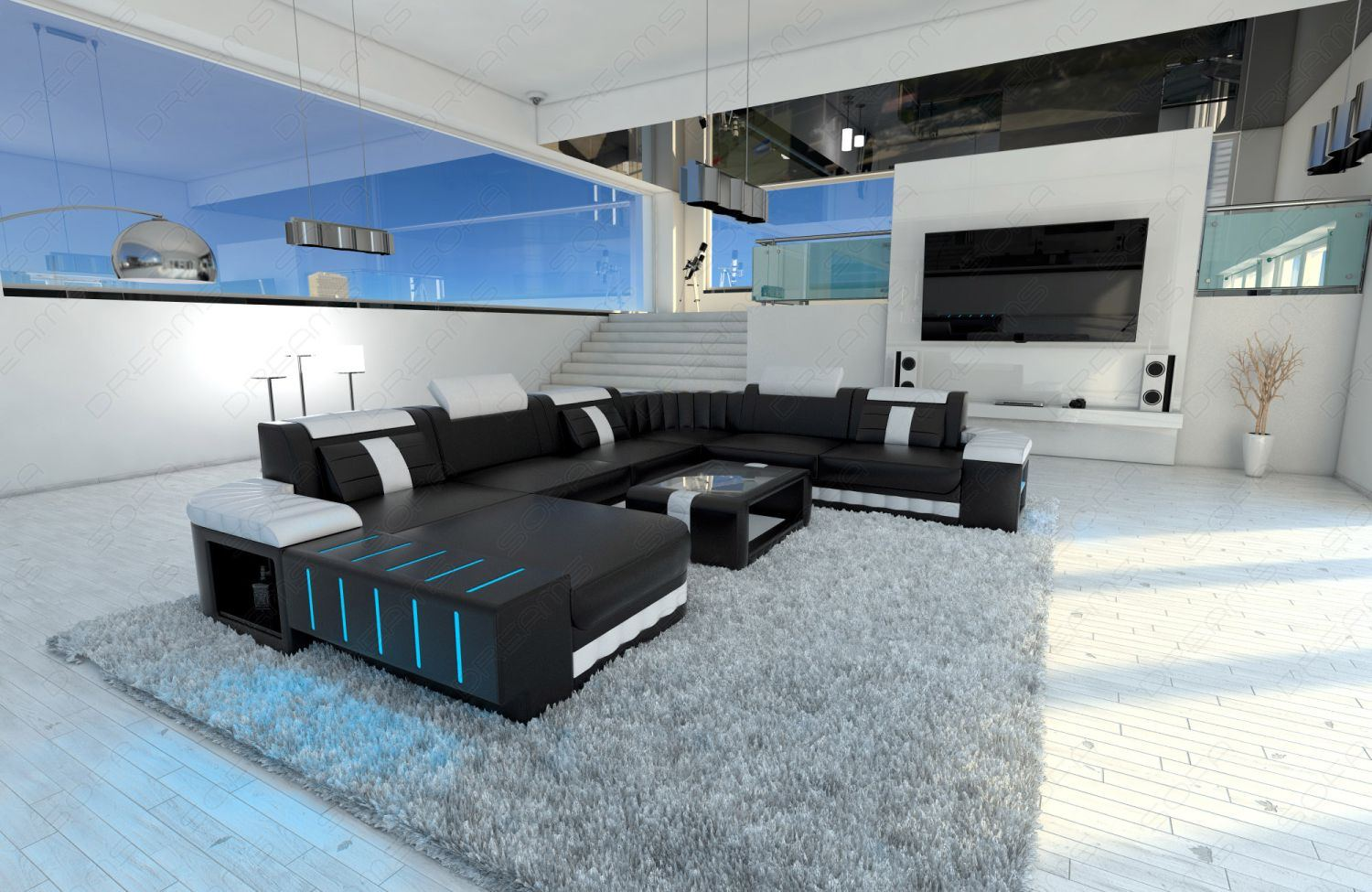 Sofa Beleuchtung : XXL Sectional Sofa BELLAGIO LED U Shaped black white  eBay