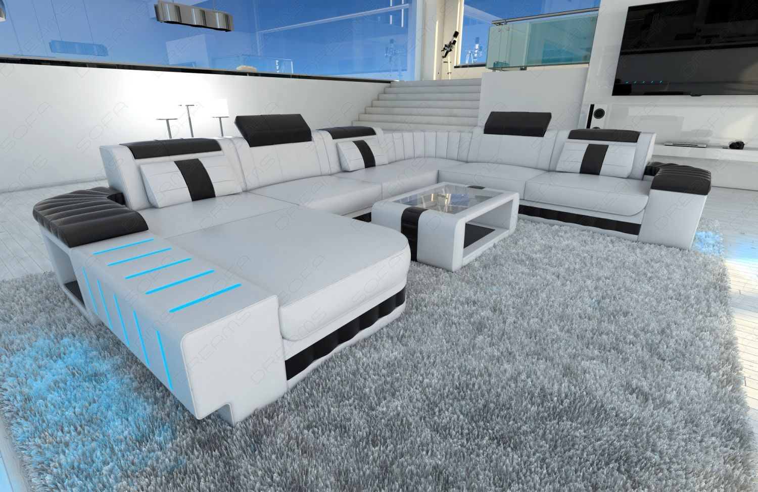 xxl sectional sofa bellagio led u shaped white black ebay. Black Bedroom Furniture Sets. Home Design Ideas