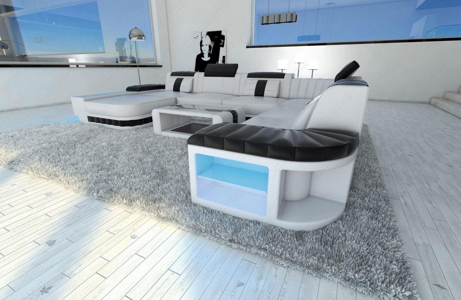 wohnlandschaft mit schlaffunktion leder sofa aus echtem. Black Bedroom Furniture Sets. Home Design Ideas