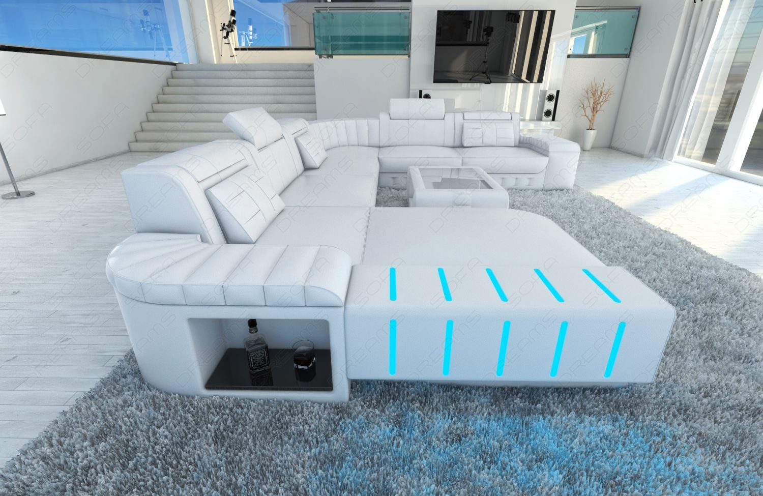 wohnlandschaft bellagio xxl u form designer couch weiss ottomane led beleuchtung ebay. Black Bedroom Furniture Sets. Home Design Ideas