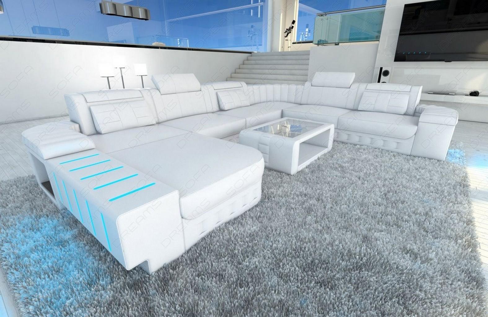 xxl sectional sofa bellagio led u shaped white white ebay. Black Bedroom Furniture Sets. Home Design Ideas