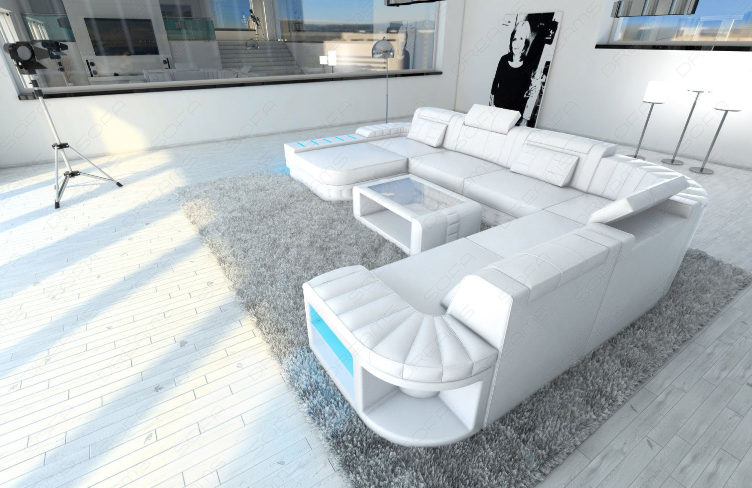 interior design design bellagio xxl u shaped complete white with led mega couch ebay. Black Bedroom Furniture Sets. Home Design Ideas