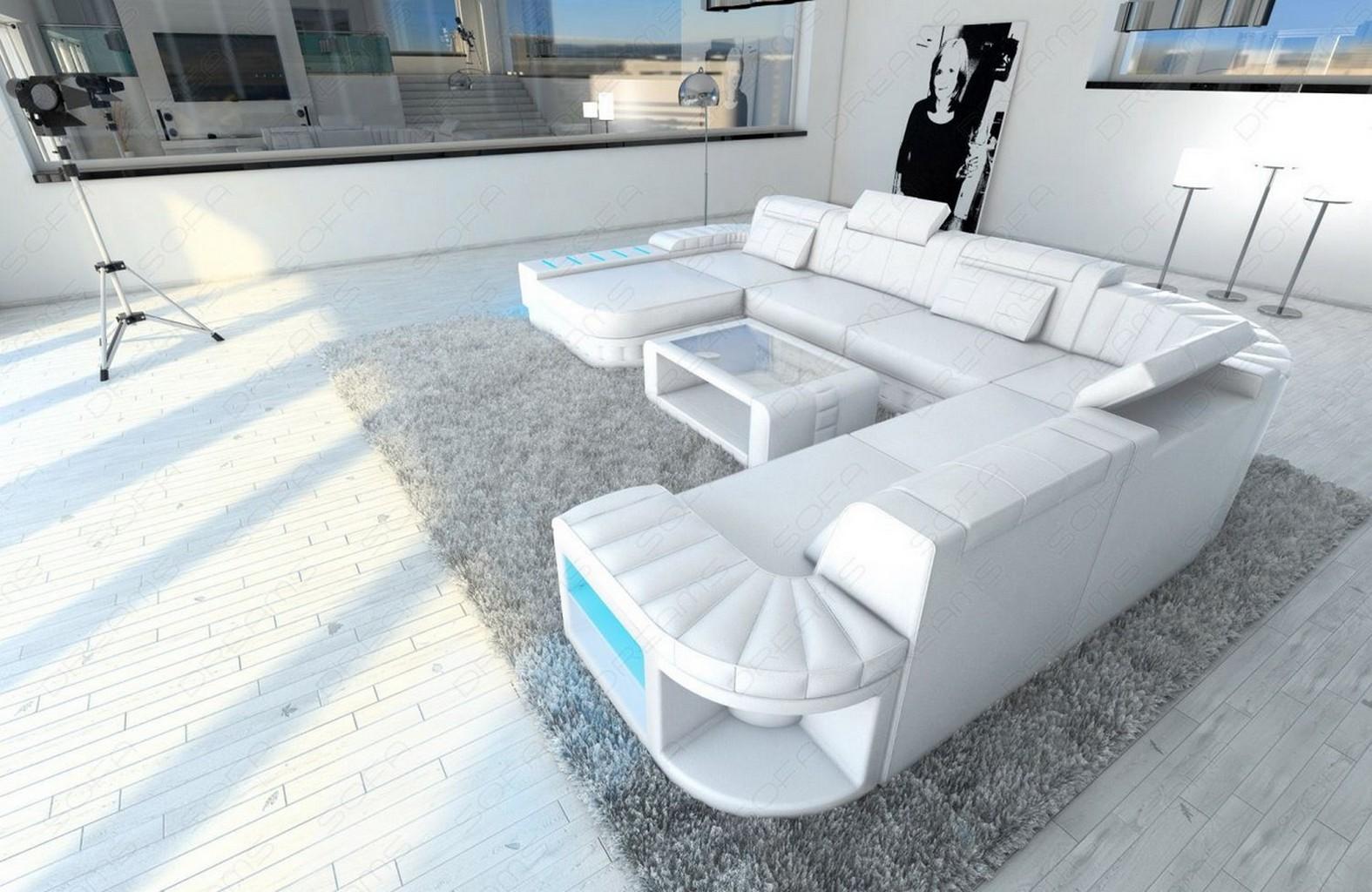 Wohnlandschaft bellagio xxl u form designer couch weiss for Echtleder sofa u form