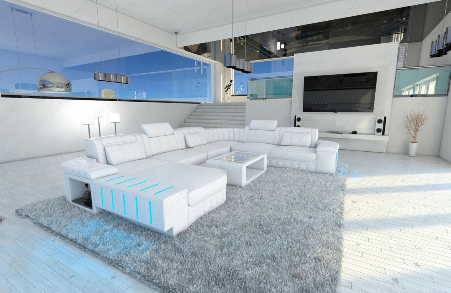 Sofa Leder Wohnlandschaft Bellagio Xxl Designsofa Weiss Ottomane Led