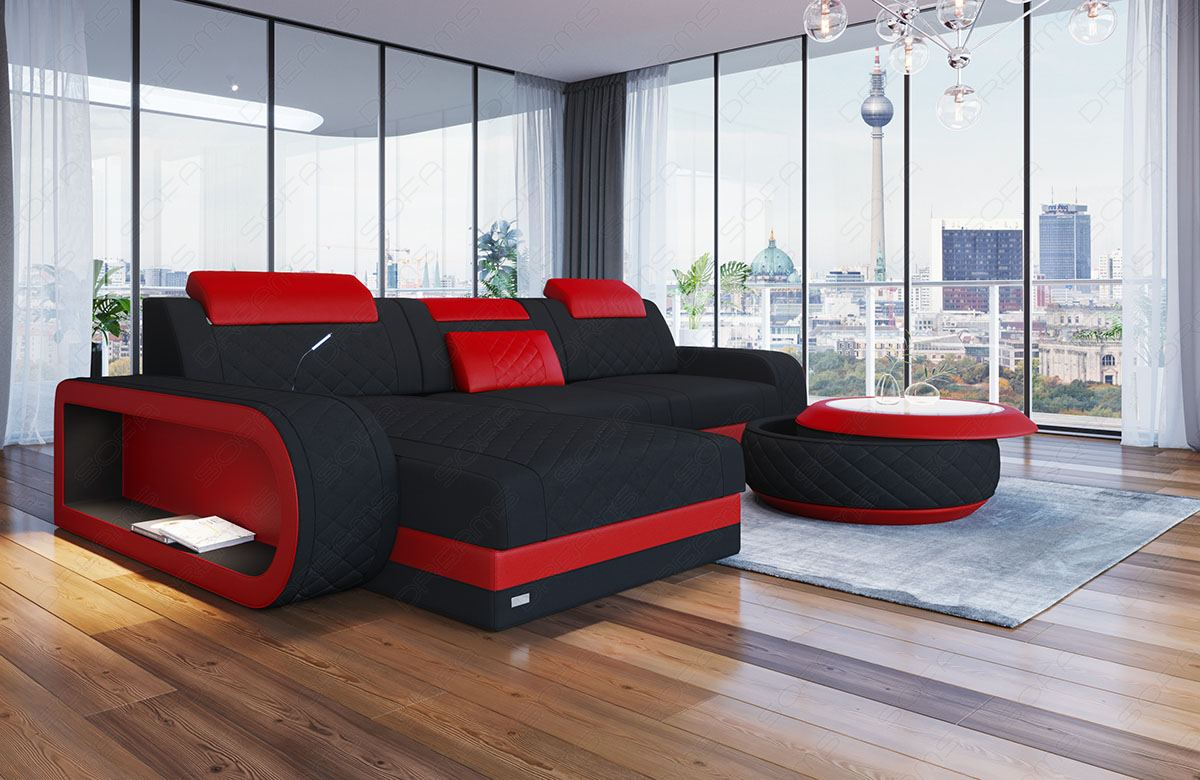 Fabric Chesterfield Sofa Charlotte L Shape Designer Couch With Led