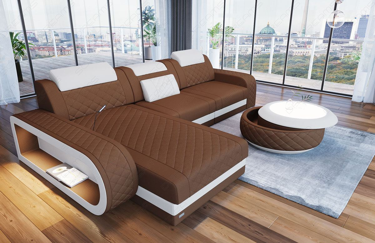 ecksofa couch sofa berlin l form ottomane led beleuchtung chesterfield polster ebay. Black Bedroom Furniture Sets. Home Design Ideas