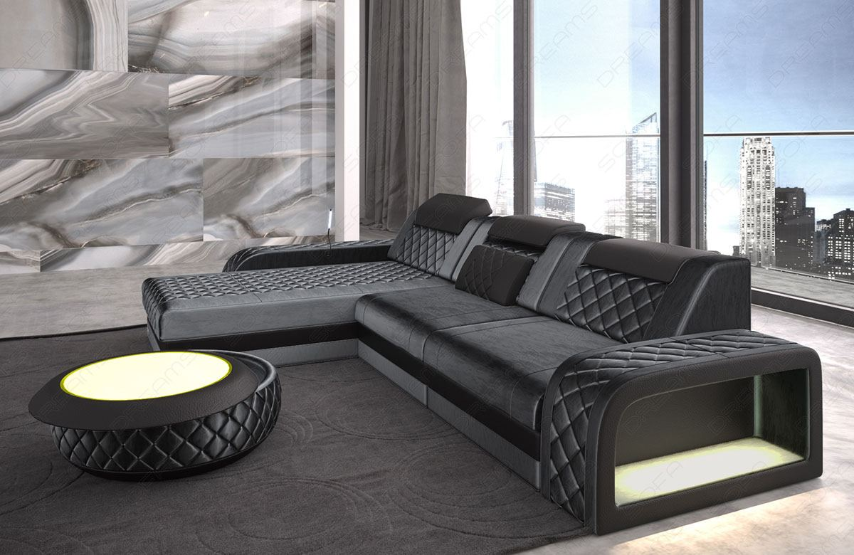 Sofa Couch Ecksofa Relaxfunktion LED und USB BERLIN L in
