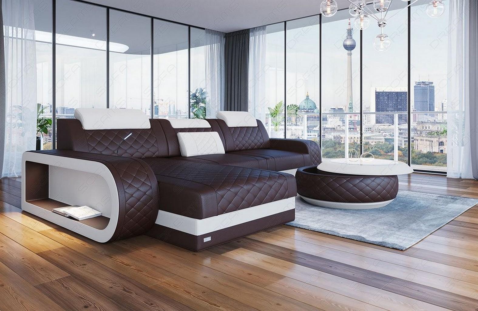 Ledersofa Eckcouch Sofa Design Luxus Couch BERLIN L Form