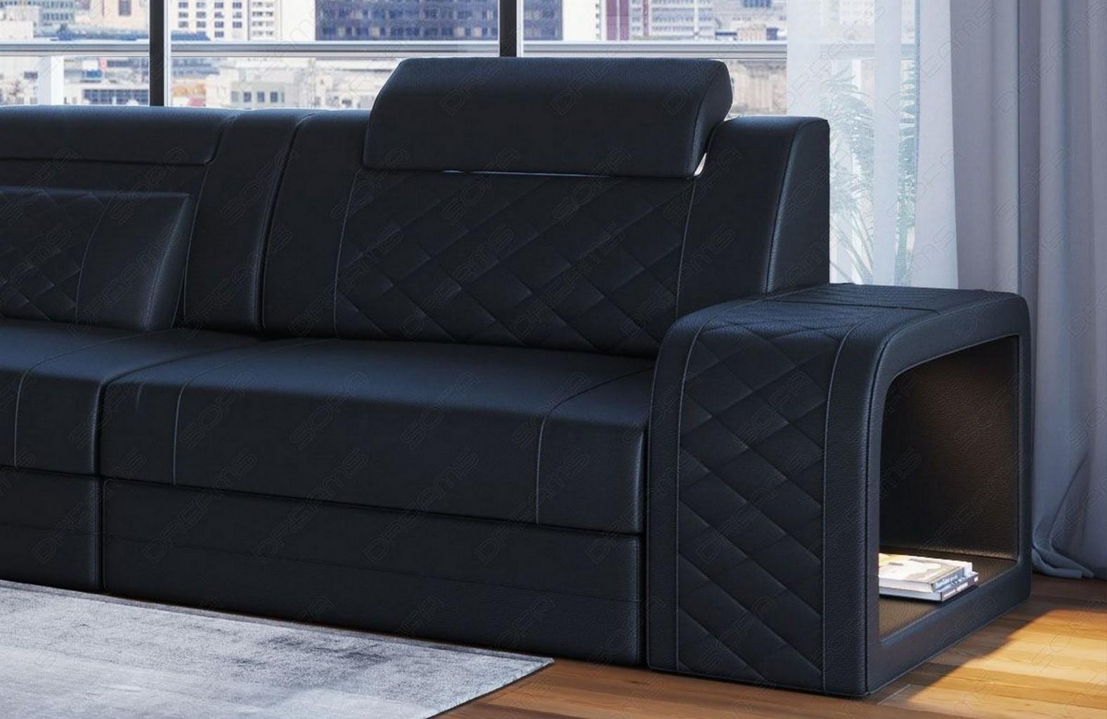 ledersofa eckcouch sofa design luxus couch berlin l form mit led beleuchtung usb ebay. Black Bedroom Furniture Sets. Home Design Ideas