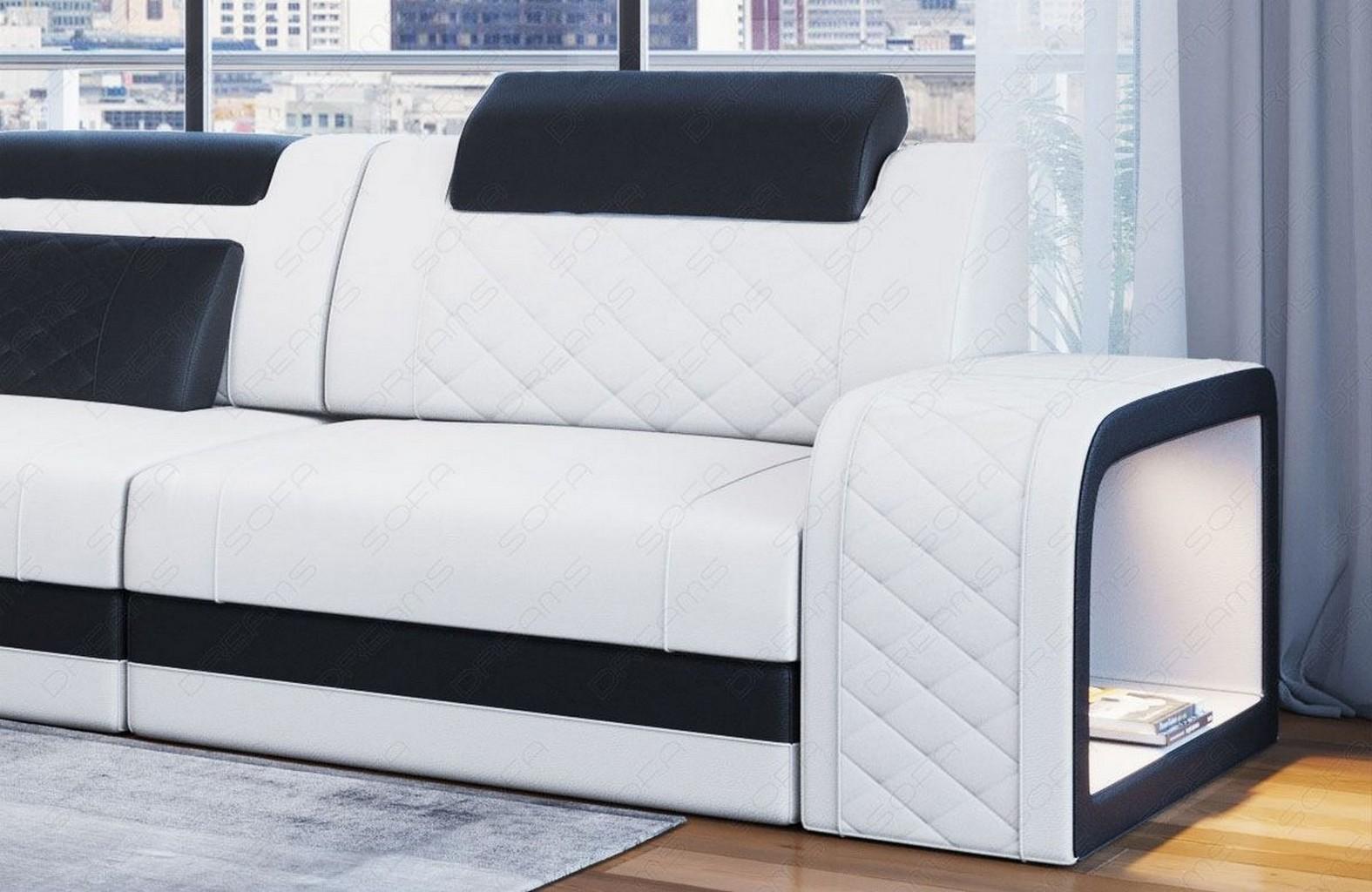 sofa ledersofa couch ecksofa berlin designersofa chesterfield mit led lampen ebay. Black Bedroom Furniture Sets. Home Design Ideas