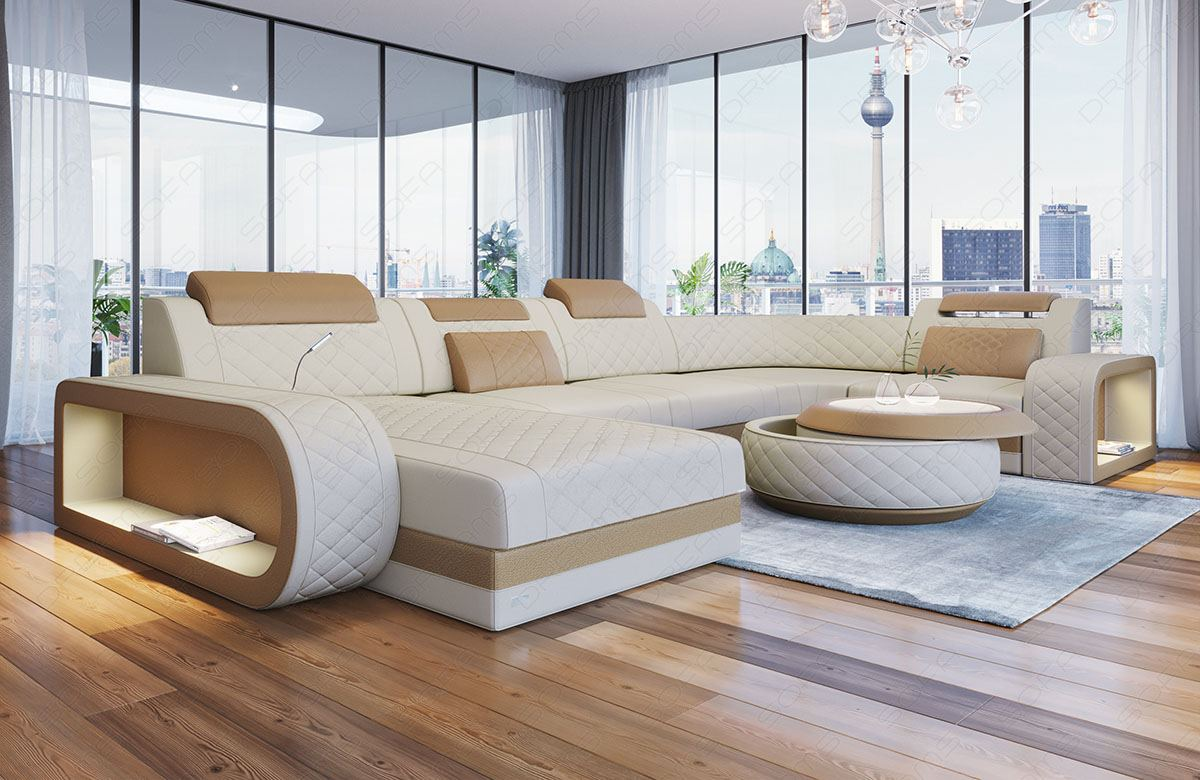 Fabric Sectional Sofa Charlotte U Shape Designer Couch with LED ...