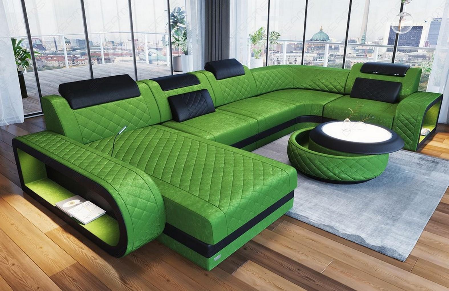 sofa wohnlandschaft couch samtstoff ottomane chesterfield berlin u in gr n led ebay