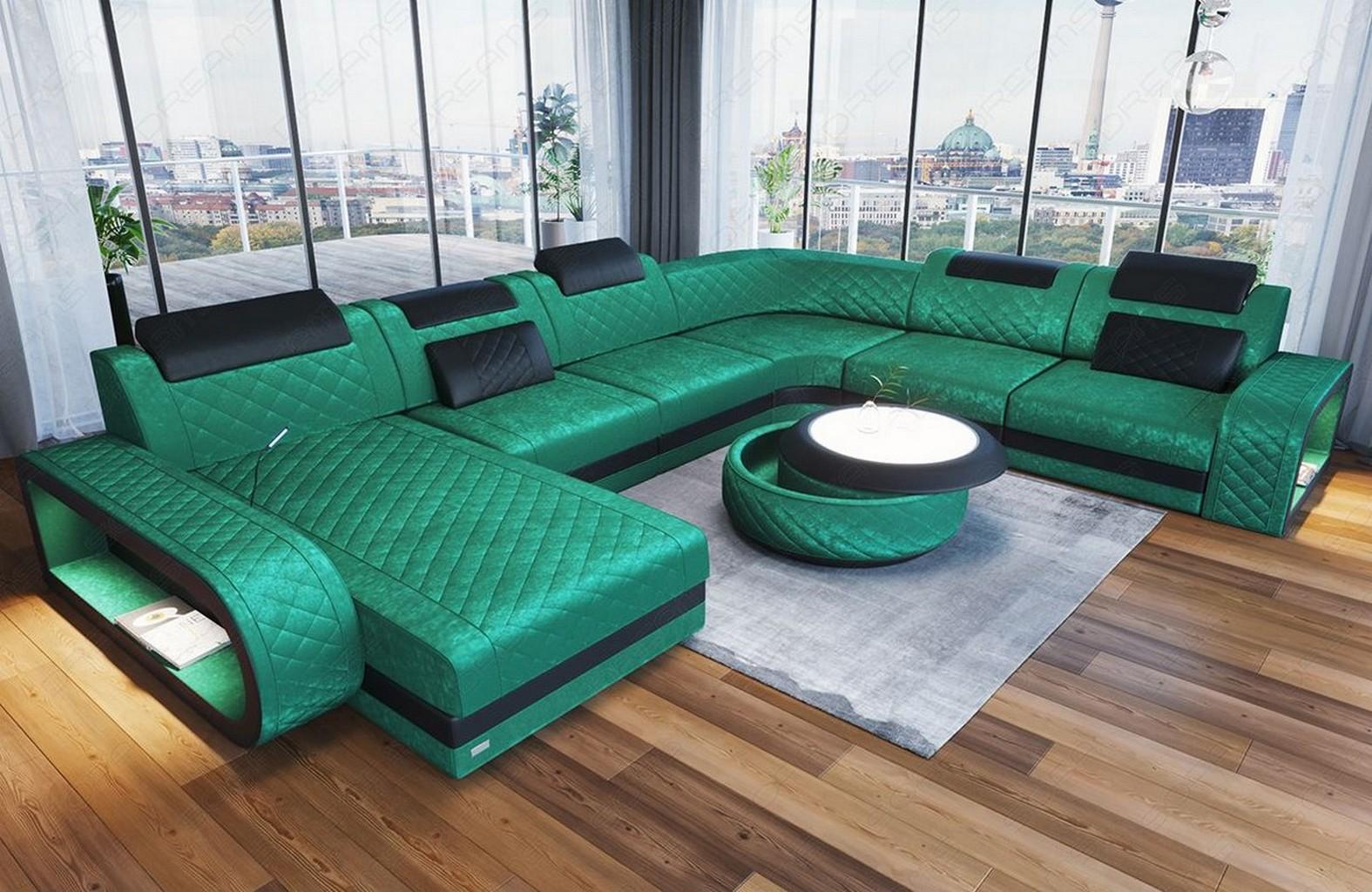 sofa couch wohnlandschaft berlin xxl stoff luxus in t rkis mit led usb recamiere ebay. Black Bedroom Furniture Sets. Home Design Ideas