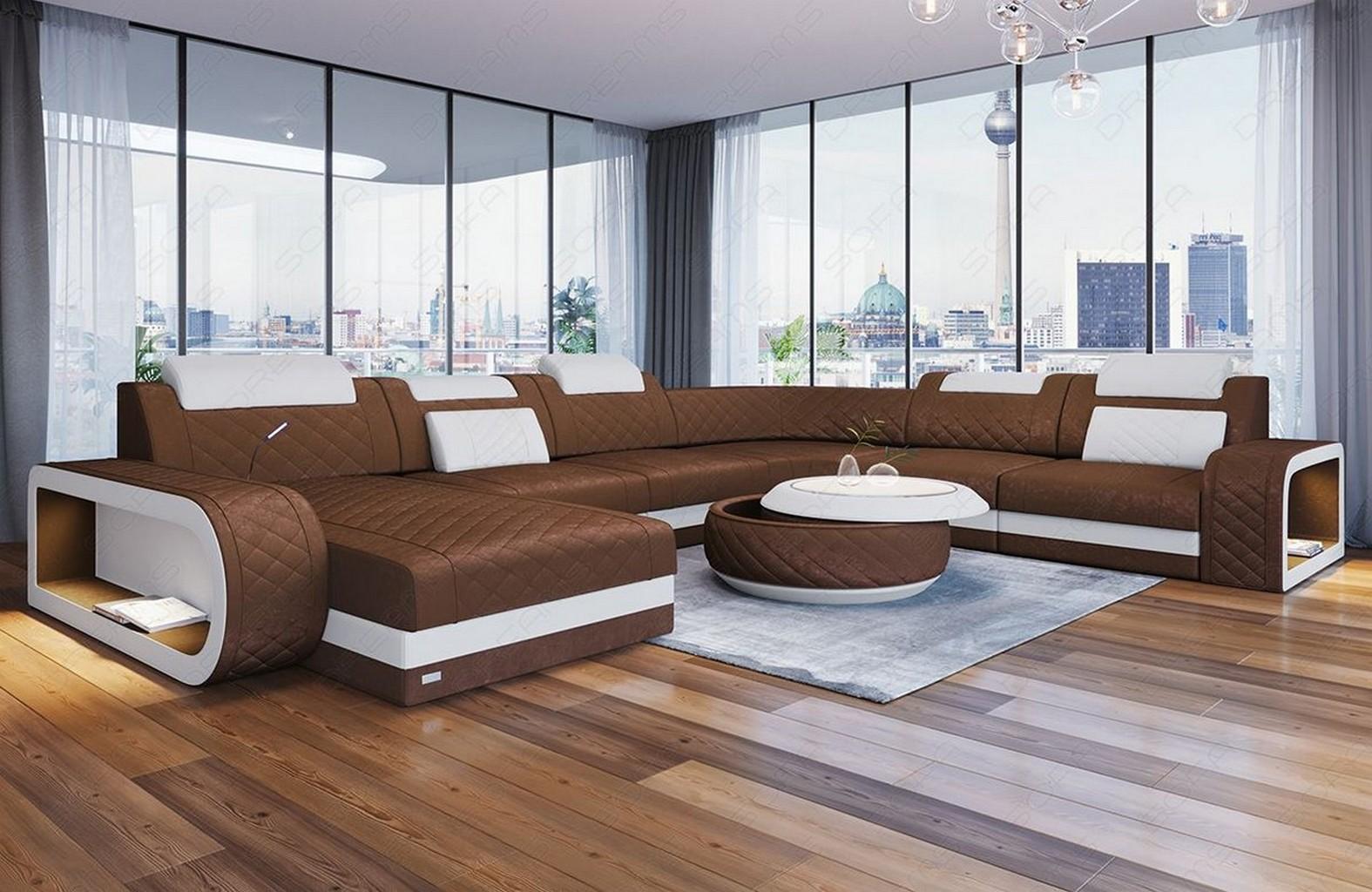 Sofa Wohnlandschaft Couch BERLIN XL Chesterfield Stoff LED