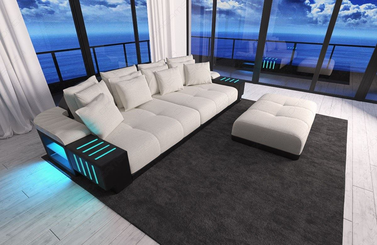 xxl big sectional sofa bellagio led lights and big stool colour selection ebay. Black Bedroom Furniture Sets. Home Design Ideas