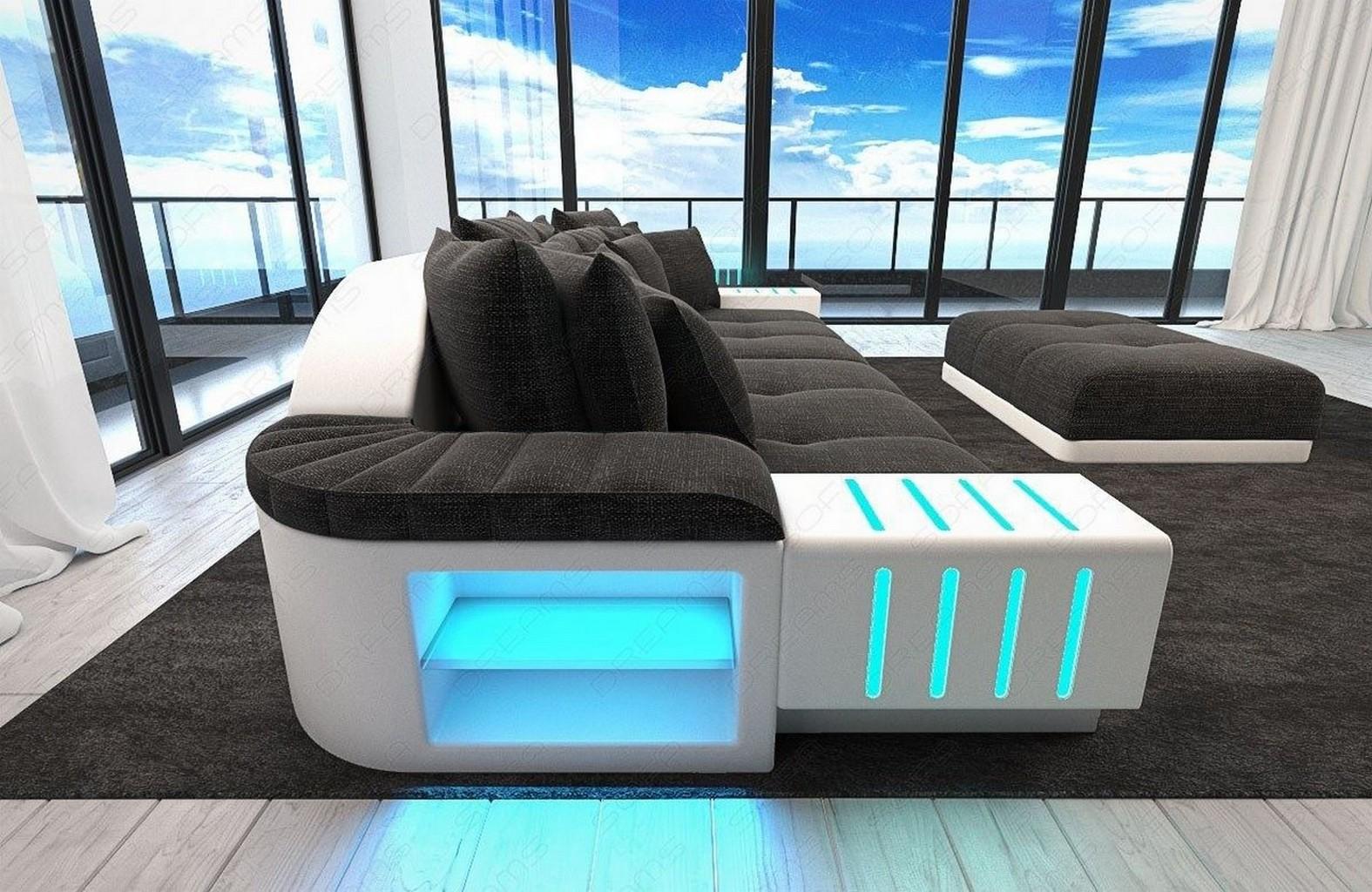 Megasofa xxl big sofa stoffcouch designer couchgarnitur bellagio led beleuchtung ebay - Couchgarnitur xxl ...