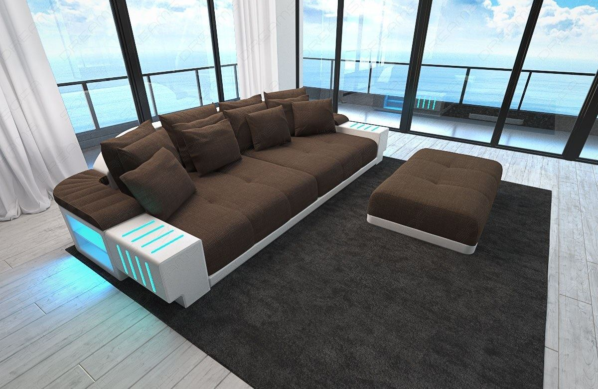 Xxl Big Sectional Sofa Bellagio Led Lights And Big Stool Colour Selection Ebay