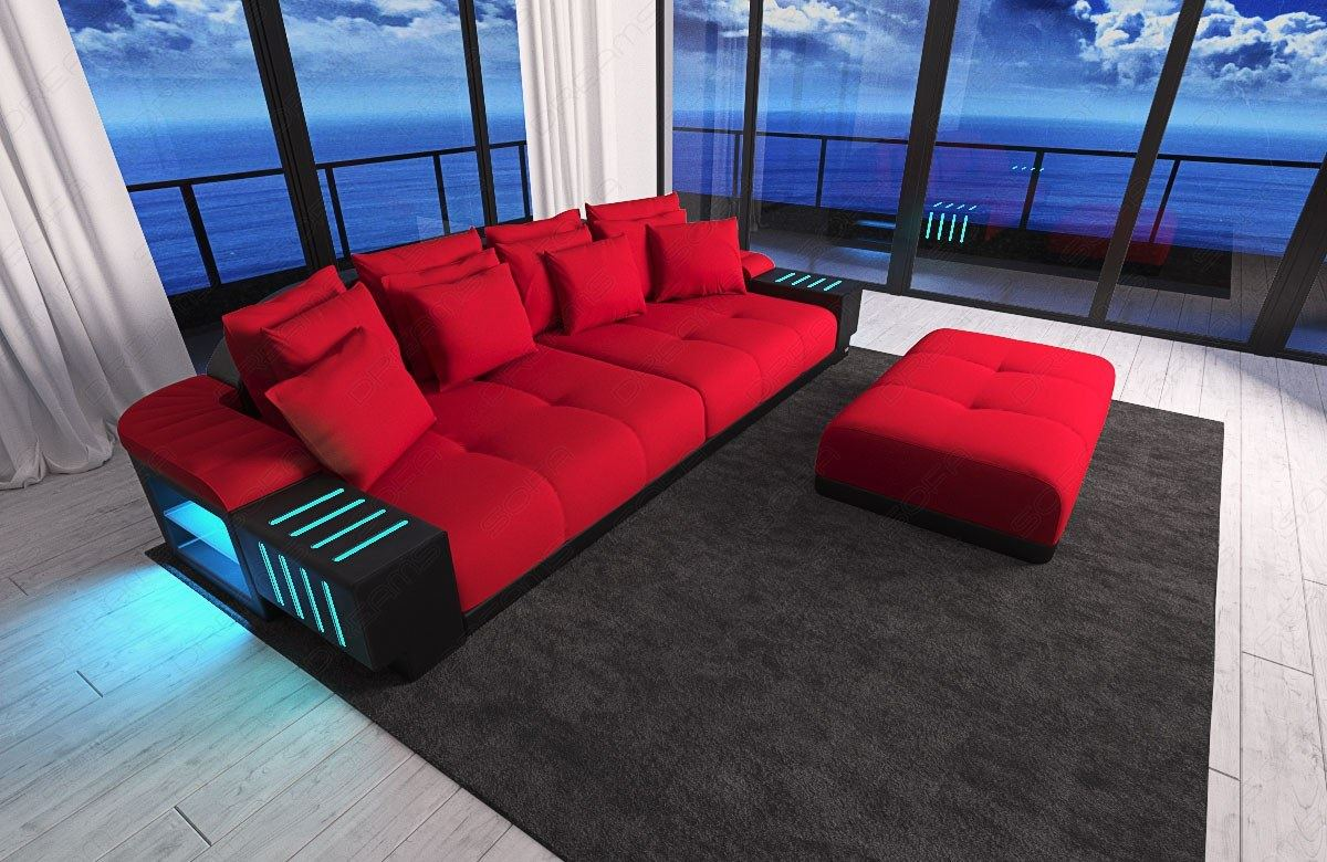 Big Sectional Sofa Bed Bellagio LED Lights And Big Stool - Colour