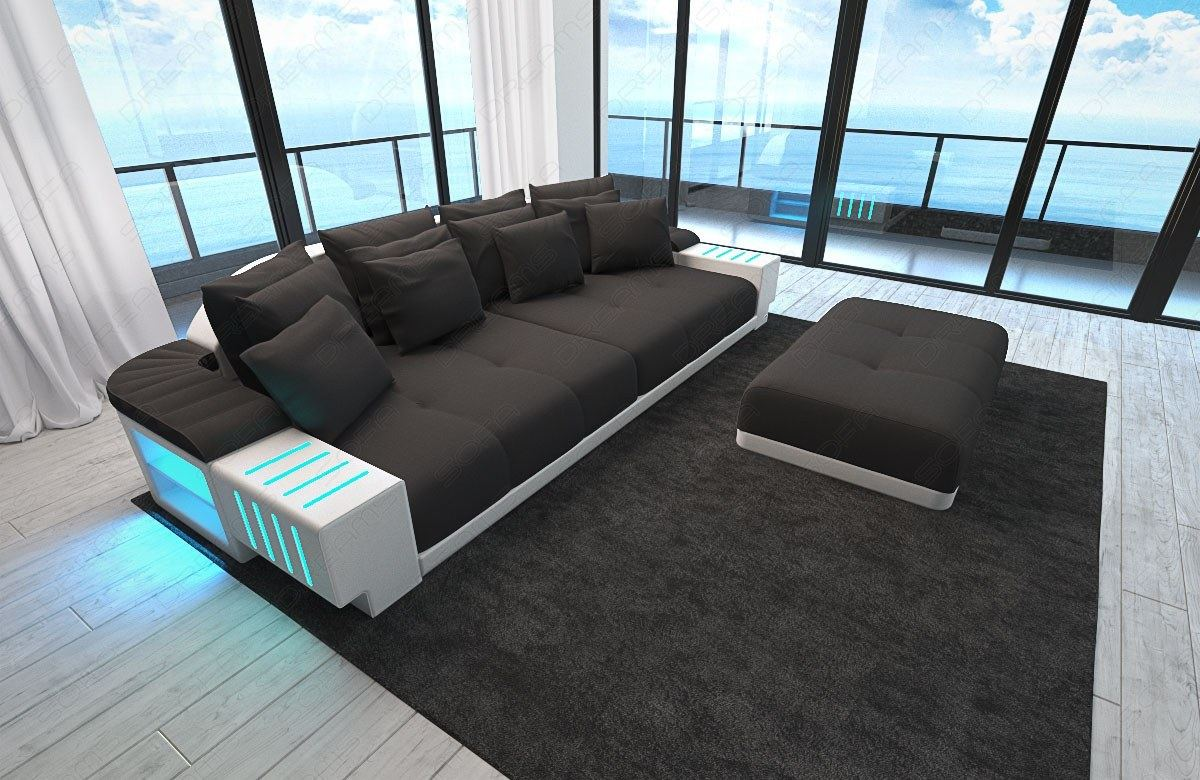 luxux designer bigsofa bellagio mit led beleuchtung stoff mega bigsofa schwarz ebay. Black Bedroom Furniture Sets. Home Design Ideas