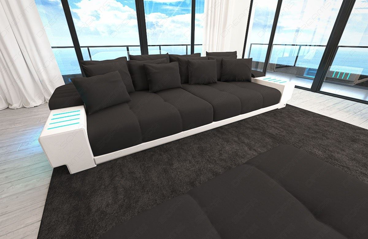 xxl sectional sofa bellagio big sofa with led lights and big stool black ebay. Black Bedroom Furniture Sets. Home Design Ideas