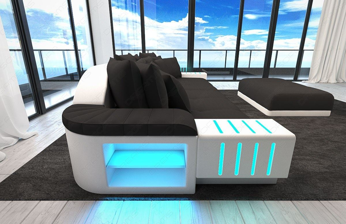 xxl big sectional sofa bellagio led lights and big stool. Black Bedroom Furniture Sets. Home Design Ideas