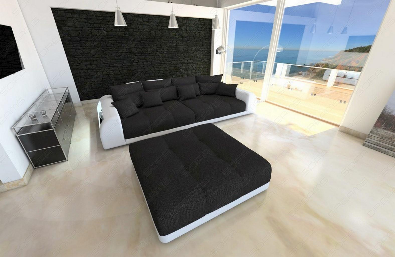 big sofa miami megasofa xxl bigsofa mega stoff couch weiss schwarz lagerware ebay. Black Bedroom Furniture Sets. Home Design Ideas