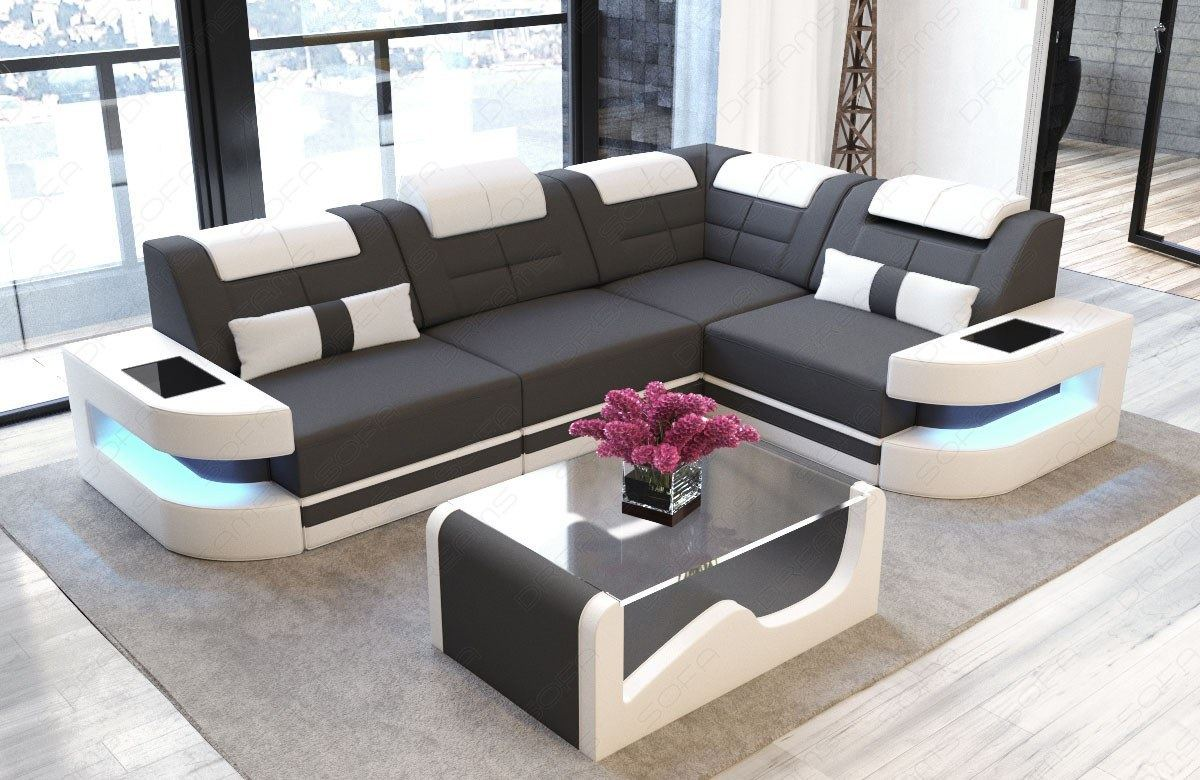 stoff design sofa como l polstergarnitur dunkelgrau mit led beleuchtung eckcouch ebay. Black Bedroom Furniture Sets. Home Design Ideas